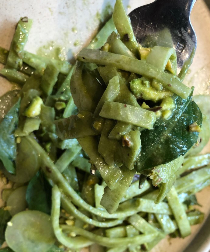 "Jícamas con pesto; ""I love vegetables"""