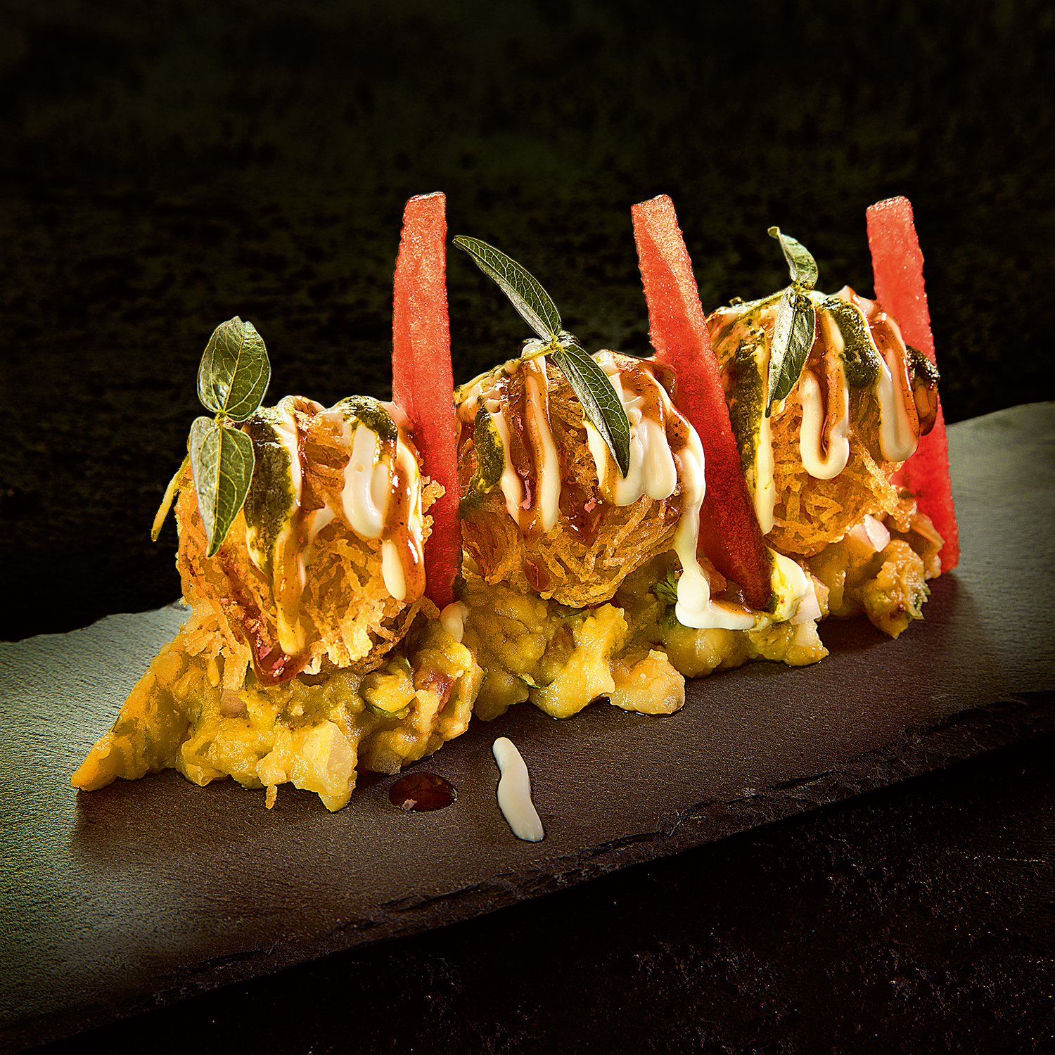 Potato Sphere Chaat, White Peas Mash, Image by Rohit Chawla for Indian Accent