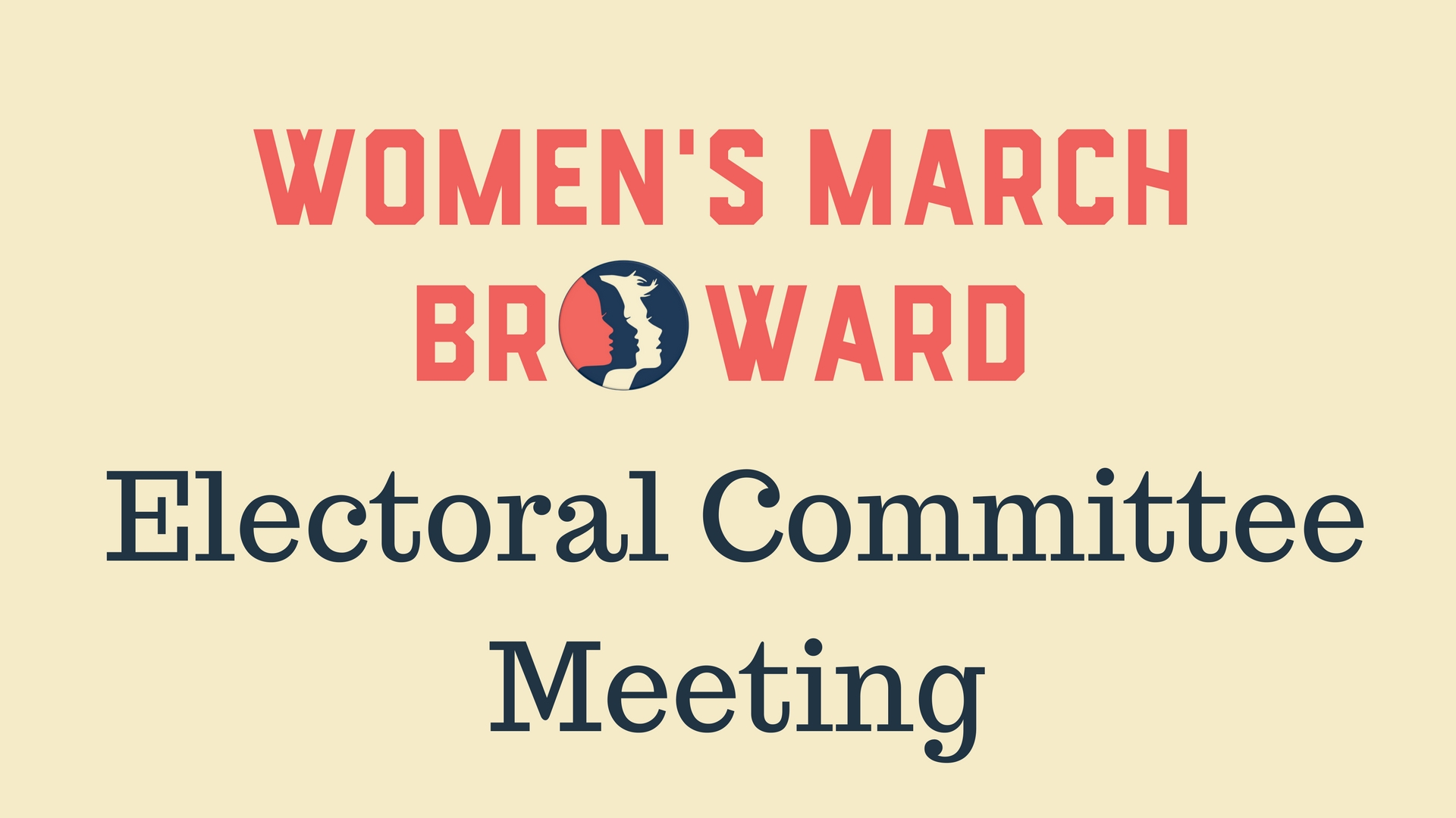3-18-17: Electoral Committee Meeting - Location: Grind Coffee Project, 599 SW 2nd Avenue, Fort Lauderdale, FL 33301Time: 12:00 PMWe will be discussing the upcoming primaries for County, State, and National elections as well as discussing the objectives of the committee.