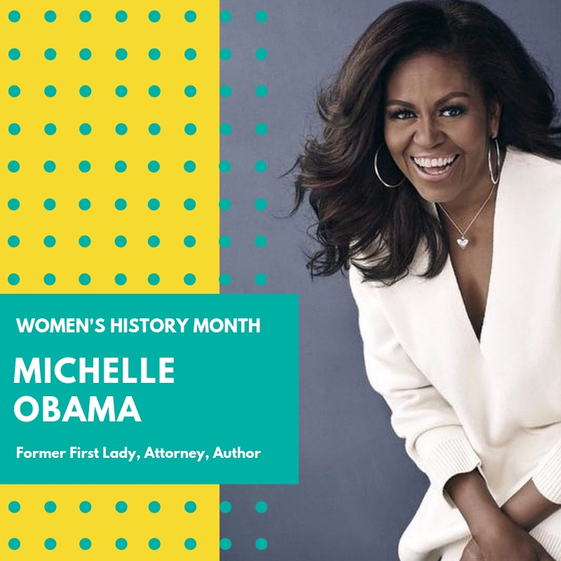 Day 1: Michelle Obama - Our forever First Lady, Michelle Obama, was born in Chicago, IL. She graduated from Princeton University where she majored in Sociology and minored in African-American studies. Michelle then went on to earn her law degree from Harvard University. She worked at a law firm in Chicago, where she met her husband...you might know him. She served as Associate Dean of Student Services at the University of Chicago and the VP of for Community Affairs at the University of Chicago Medical Center.As First Lady, Michelle used her position to speak out for the rights of so many including working families, the LGBTQ community, and education. She also co-founded the Joining Forces program to expand educational and employment options for veterans. She formed the Higher initiative to inspire young people to explore higher education and career-development opportunities. Also, she chose to encourage healthy eating habits and exercise with her Let's Move campaign. (She planted an organic garden at the White House! 🥦🥬🥕)Since her first appearance on the national stage, Michelle Obama has been an icon and inspiration for so many women and young girls around the world. With style, grace, and the intelligence to challenge everyone, Michelle Obama taught us a very important lesson about how to navigate in this world:
