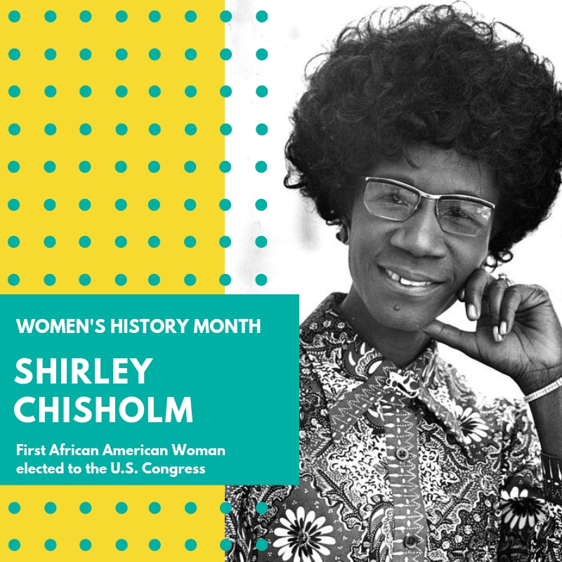"Day 2: Shirley Chisholm - Shirley Chisholm. Born in Brooklyn, NY in 1924, Shirley St. Hill was a first generation American. Her parents were both Caribbean born, hard-working, and proud. Shirley attended the Girls' High School in Bedford-Stuyvesant neighborhood. She earned her Bachelor of Arts degree from Brooklyn College and her Masters Degree in Education from the Teachers College at Columbia University.While working as a director of a school in Brooklyn, Shirley became interested in politics. She started working as a volunteer in white-dominated political clubs in Brooklyn. Soon after, Shirley became a Democratic member of the New York State Assembly from 1965 to 1968. She was honored in a ""Salute to Women Doers"" in New York. While working in the Assembly, Shirley argued against the state's literacy test requiring English. She said that just because a person ""functions better in his native language is no sign a person is illiterate."" She fought to extend unemployment benefits to domestic workers and the SEEK program for disadvantaged students to enter college while receiving remedial education.In 1968 she ran for the U.S. House of Representatives for the 12th District in New York. Her campaign slogan was ""Unbought and unbossed"". 💪💪💪 She won that race making her the First African-American woman elected to the United States Congress. She kept that seat for 14 years. She served on the Veterans' Affairs Committee and the Education and Labor Committee. In 1971 Chisholm joined the Congressional Black Caucus as one of its founding members. In the same year she was also a founding member of the National Women's Political Caucus.Shirley Chisholm ran for President of the United States in 1972. She was the first woman to ever run for the Democratic Party's presidential nomination and the first black major-party candidate. In November 2015, President Obama awarded Shirley the Presidential Medal of Freedom posthumously. A famous quote of Shirley Chisholm's is ""If they don't give you a seat at the table, bring a folding chair."" That is exactly what she did. In every effort in her education, her professional career, and her political life, Shirley Chisholm paved the way for all of us. She defied expectation and convention. We stand on the shoulders of giants like Shirley. Because of her we now have the 116th United States Congress with more women serving than ever before. I think she would be proud. 🌸🌸🌸 #womenshistorymonth #womensmarchbroward #womensmarchflorida #shirleychisholm"