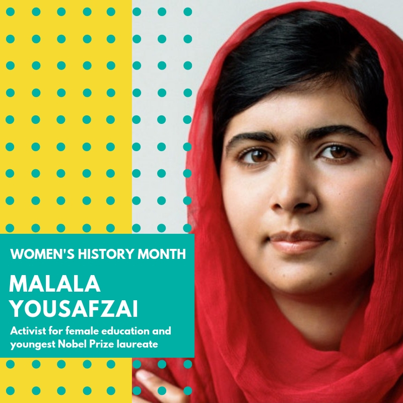 "Day 3: Malala Yousafzai - Malala Yousafzai. Malala is a Pakistani activist for female education and the youngest Nobel Prize laureate. She is known for human rights advocacy, especially in the education of women and children in her native Pakistan. While riding on a bus at 15 years old Malala was shot a number times in an assassination attempt by the Taliban. Malala had risen to some fame after doing interviews with international press regarding what life was like for her family while living in an area where the Taliban had taken control. Her parents ran a chain of schools in the region and Malala was always encouraged to pursue her education even though this was a dangerous prospect. During the assassination attempt, Malala was hit in the head with a bullet and remained unconscious and in critical condition. She was transferred to a hospital in the UK where her condition later improved. Following her recovery, Malala became a prominent activist for the right to education. Her family had to stay in the UK due to the threat by the Taliban of another assassination attempt if they returned to Pakistan. She founded the Malala Fund, a non-profit organization, and in 2013 co-authored the international best seller I am Malala.In 2014, she was the co-recipient of the 2014 Nobel Peace Prize, along with Kailash Satyarthi of India. At 17, Malala became the youngest person to ever receive a Nobel Prize. She has been named one of the most influential people in the world. ""So here I stand, one girl among many. I speak not for myself, but so those without a voice can be heard. Those who have fought for their rights. Their right to live in peace. Their right to be treated with dignity. Their right to equality of opportunity. Their right to be educated."" A young woman who has wisdom beyond her years because she has had to fight insurmountable odds just to go to school. Women like Malala are the reason we fight for all that need their voices uplifted and heard. 🌸🌸🌸#womenshistorymonth #womensmarchbroward #womensmarchflorida #malalayousafzai"