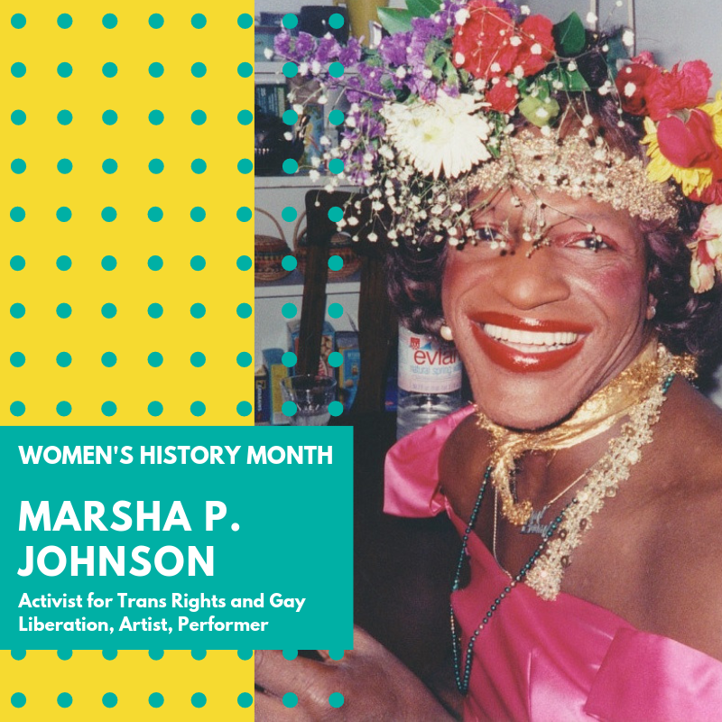 "Day 4: Marsha P. Johnson - Marsha P. Johnson was a beloved Trans rights activist and is credited with starting the gay rights movement. Marsha is credited by throwing the first brick at the police at the Stonewall Inn in 1969. Sick and tired of being harassed by the police, Marsha picked up a brick and in one move lit a fire that had been slowing burning for far too long.Marsha moved to New York City in 1966. Johnson identified herself as gay, as a transvestite, and as a Queen. She performed in drag queen shows and was photographed by Andy Warhol as part of his ""Ladies and Gentleman"" Polaroid series. On the early morning hours of June 28, 1969, the uprising occurred at the Stonewall Inn. The first two nights of rioting were intense, but the clashes with police would result in a series of spontaneous demonstrations and marches through the gay neighborhoods of Greenwich Village for weeks afterwards. These events have been collectively described as a ""riot,"" a ""rebellion,"" a ""protest,"" and an ""uprising."" Whatever the label, this was certainly a watershed moment in LGBT history. As an African-American trans woman, Marsha P. Johnson has consistently been overlooked both as a participant in the Stonewall uprising and more generally, LGBTQ activism. As the broader gay and lesbian movement shifted toward leadership from white cisgender men and women, trans people of color were swept to the outskirts of the movement. In 1973, Johnson and Sylvia Rivera were banned from participating in the gay pride parade by the gay and lesbian committee who were administering the event stating they"