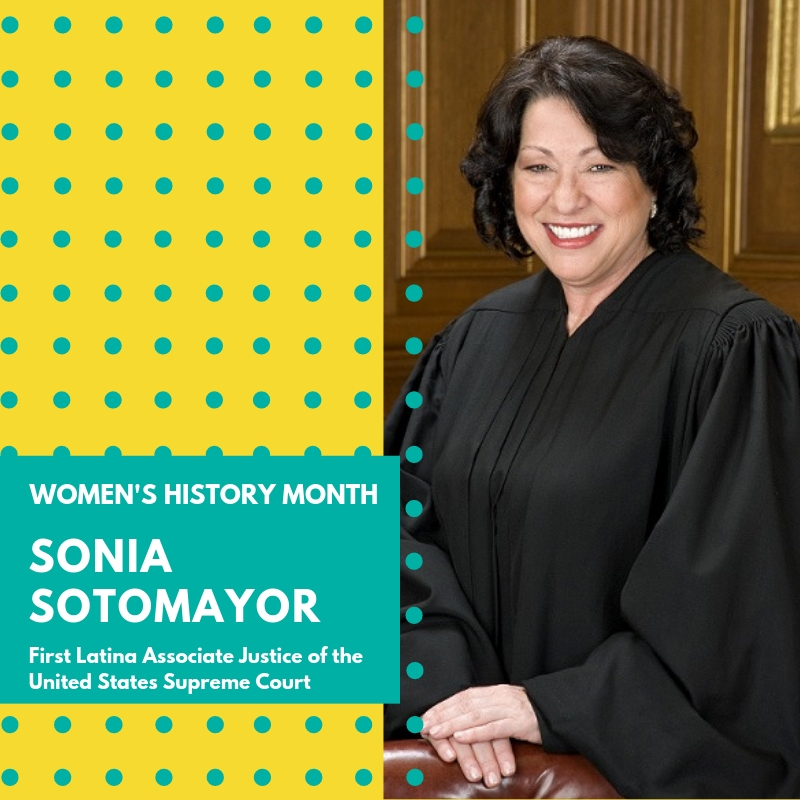 "Day 6: Sonia Sotomayor - Sonia Maria Sotomayor is the first Hispanic justice named to the United States Supreme Court and 3rd female justice in U.S. Supreme Court history. She was born in the Bronx, New York in 1954 to Puerto Rican parents who moved from Puerto Rico to New York during World War II. She graduated as valedictorian of her high school in 1972, received her B.A. in history from Princeton University, where she graduated summa cum laude and was recipient of the University's highest undergraduate honor, the Pyne Prize, awarded to the senior who has shown to portray excellent scholarship, strength of character and effective leadership. She went on to receive her law degree from Yale Law School where she was editor of the Yale Law Journal. During her days at Princeton, she found that she was in the minority not only as a Latina but as a woman as well, even among the faculty and staff. It may be what led her to found the Latino Student Organization at Princeton and become the co-chair of a student group, Accion Puertorriquena, that worked to uphold opportunities for Puerto Ricans. She spent much of her early law career in private practice before being nominated by President George H.W. Bush as federal judge to the U.S. District Court, Southern District of New York where she served from 1992 – 1998. She was then nominated by President Bill Clinton to the United States Court of Appeals for the Second Circuit where she served from 1998 – 2009. President Barack Obama nominated her as an Associate Justice for the Supreme Court in 2009. She was confirmed 68-31 by the Senate and was sworn in in August 2009. A New York Times article from May 2009 when she was a candidate for the Supreme Court stated, ""In many ways, she is walking through a door she pushed open herself.""During her confirmation hearings to the U.S. Supreme Court, she was repeatedly questioned about and made to defend what is now one of her most famous statements, ""I would hope that a wise Latina woman with the richness of her experiences would more often than not reach a better conclusion than a white male who hasn't lived that life."", which she stated during a speech to law students in 2001. Senator Jeff Sessions repeatedly brought this up as an indication of bias on her part. As a strong advocate for the Latino population, she explained,"