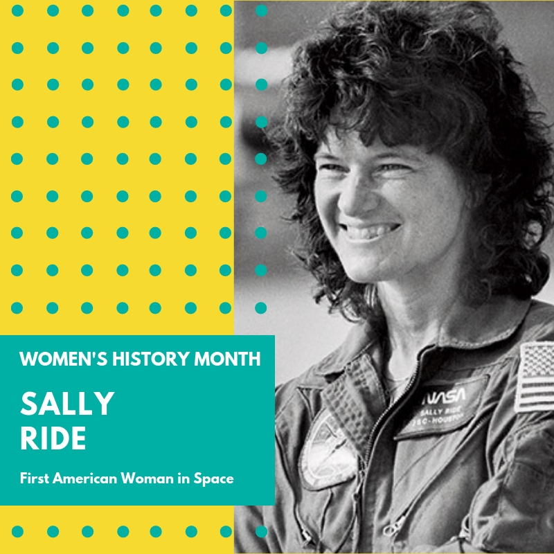 Day 8: Sally Ride - Sally Ride helped set the stage for female astronauts when she became the first American woman to travel to space in 1983. At a time when astronauts were decidedly white males, she jumped at an opportunity to join a new team in 1978 after seeing a NASA advertisement recruiting women for the first time. She was one of six women chosen to the NASA Astronaut Group 8, the first class to include women. She took two flights to space during her career with NASA and went on to influence young people, especially girls, for the remainder of her professional career. She was the third woman overall to go to space.Born in Encino, CA in 1951, she graduated High School in 1968 and later attended Stanford University where she received a master of science degree and a PhD in physics, focusing on astrophysics, in 1978.Her first flight was on the space shuttle Challenger on June 18, 1983 and she would take a second flight during her career with NASA in 1984.In 1960, an independent study, conducted by the same doctor testing American male astronauts, to test the rigors of female pilots, proved that women would do just as well with the harshness of space travel, if not better than their male counterparts. It wasn't until two decades later, however, that women were allowed into the space program. It was widely presumed that a woman would not be able to handle the job in space if she was menstruating. Sally Ride was not immune to the scrutiny. Before her first mission to space, the media focused mainly on her gender, asking her such questions during a press conference as,