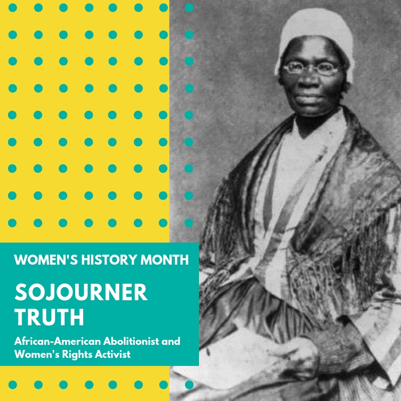 "Day 9: Sojourner Truth - Sojourner Truth devoted her entire free life to advocating for women's rights and the rights of women of color. She is considered one of the ""most powerful advocates for human rights in the nineteenth century"".Isabella Baumfree was born into slavery in or around 1797 in Ulster County, New York State. She was sold a total of 4 times, the first at the age of 9. She was forced to do harsh physical labor and endure beatings and violence. Though she fell in love with a slave from a neighboring estate, she was forced to marry one from her own estate. Together they had 5 children beginning in 1815.She freed herself in 1826, walking away from her master's estate with her infant daughter and seeking refuge with a nearby abolitionist family. She moved to New York City where she joined the religious movement and became a Methodist. In 1843, she changed her name to Sojourner Truth, declaring that she was called to preach the truth. She became involved in the antislavery and women's movements and began speaking across the country. She travelled for years speaking out against slavery and sexism, funding her travels by selling photo cards, or cartes de visite, as souvenirs, depicting different photos of herself, a novel idea at the time.At the Women's Rights Convention in Akron, OH in 1851, she gave the speech that she is most famous for. While not invited to speak at this event, she participated in the discussions and spoke about equality between men and women. The speech we have come to know as hers, ""Ain't I a Woman"", was actually published 12 years after Truth gave her speech. According to The Sojourner Truth Project, the accurate speech was published within weeks of her address at the convention by a friend of hers. It is unclear why Frances Dana Gage would want to alter her speech so dramatically, even writing in the dialect of a southerner, which Truth was not. It may be that she was simply using it as a means of pushing the Women's Movement forward. According to The Sojourner Truth Project, ""The preference for the Gage version of Truth's speech speaks to our nations need for symbolism and mythology in our historical narrative. However, to only see Sojourner through this lens is an oversimplification of her identity and minimizes her real life struggles and hard won human accomplishments. It is important to see her as a real person who, despite starting life enslaved, rose-up and fought tirelessly with incredible conviction, faith and courage for human rights and personal freedoms.""Almost 40 years after Truth died, women finally won the right to vote. In 2020, the U.S. Treasury will honor Truth, along with other suffragists, on a new ten dollar bill. It will commemorate the 100th anniversary of the 19th Amendment which gave women the right to vote. 🌸🌸🌸#womenshistorymonth #womensmarchbroward #womensmarchflorida #sojournertruth"