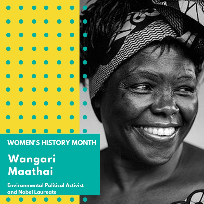 "Day 12: Wangari Maathai - Wangari Maathai was an internationally known activist who fought for democracy, human rights, and environmental conservation. She was the founder of the Green Belt Movement, a grassroots organization focusing on poverty reduction and environmental conservation through tree planting. She was also the 2004 Nobel Peace Prize Laureate.Born in Kenya, she obtained her undergraduate degree in Biological Sciences and went on to become the first woman in East and Central Africa to earn her doctorate degree. She was deeply committed to the environment and climate change and in 2009 she was appointed as a UN Messenger of Peace.She garnered many other personal achievements, awards and professional affiliations throughout her career including founding the Nobel Women's Initiative with her sister laureates and becoming trustee of the Karura Forest Environmental Education Trust. Professor Maathai was also the first woman to become chair of the Department of Veterinary Anatomy and an associate professor at University of Nairobi.In 2010, in partnership with the University she founded the Wangari Maathai Institute for Peace and Environmental Studies (WMI). She also authored four books, was featured in a number of books and she and the Green Belt Movement were the subject of a documentary film called ""Taking Root: The Vision of Wangari Maathai"".Wangari Maathai died in 2011 after battling ovarian cancer. She left behind many notable quotes including the following "" In a few decades, the relationship between the environment, resources and conflict may seem almost as obvious as the connection we see today between human rights, democracy and peace."" 🌸🌸🌸 #womenshistorymonth #womensmarchbroward #womensmarchflorida #wangarimaathai #thegreenbeltmovement"