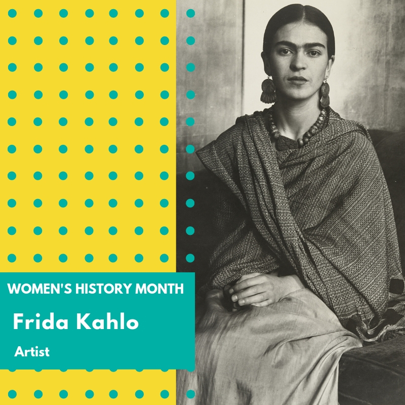 "Day 14: Frida Kahlo - Frida Kahlo (de Rivera) was a Mexican artist known for portraits, self portraits, and other works inspired by artifacts and nature in Mexico. She used bold, vivid colors and was lauded by feminists for her representation of the female experience and form. She also drew on the inspiration of Mexicanidad a form of romantic nationalism that came about in the aftermath of the revolution as well as Mexican Folk art. These influences helped her develop a unique style that mixed elements of reality with surrealism and often reflected pain and death.Kahlo was born in 1907 and was stricken with polio as a child. As a teenager she was in a bus accident and suffered multiple injuries including spine fractures and a broken pelvis. It was during the recovery from this accident that she began to focus on painting. She often detailed the injuries to her body in many of her self portraits. However, she mimicked the styles of many 19th century Mexican painters who were heavily influenced by the European Renaissance artists of the time. Kahlo was also interested in politics and in 1927 she joined the Mexican Communist Party, where she met and later married Diego Rivera, another Mexican artist. Their relationship was tumultuous with affairs happening on both sides. Frida was known to have affairs with men and women. Their marriage eventually ended in divorce.In 1938, a surrealist by the name of Andre Breton arranged for her first solo exhibition in New York which was a great success. Others soon followed including one in Paris which led to the purchase of her work ""The Frame"" by the Louvre. This made her the first Mexican artist to be featured in their collection. She also garnered appreciation for her work in Mexico, and was offered a teaching position at the National Preparatory School . She continued to make a living from her art as she had a steady stream of private clientele who commissioned family portraits. Although the popularity of her work continued her health steadily declined. The bus accident she was involved in plagued her throughout her life and she had to undergo many operations. As a result, her failing health kept her confined to her home. She died at the age of 47 and although her official cause of death was a pulmonary embolism, her nurse, who monitored her drug use, maintained that she died of an overdose of painkillers.Her works are considered a part of Mexican Cultural Heritage and she is regarded as one of the most significant artists of the 20th century. Her legacy is commemorated in several ways. Her home in Mexico, La Casa Azul, is one of the most popular museums in Mexico City, and in the U.S. she was the first Hispanic woman to be featured on a postage stamp. She has also been the subject of novels, albums, stage performances and even a children's book which focuses on the animals and pets in Kahlo's life and art. 🌸🌸🌸 #womenshistorymonth #womensmarchbroward #womensmarchflorida #fridakahlo"