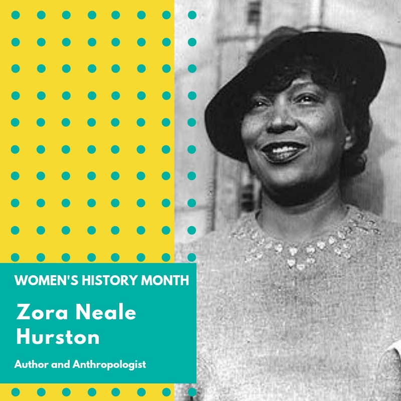 "Day 13: Zora Neale Hurston - Zora Neale Hurston was a prominent author of African-American Literature known for books that reflected the racial struggles in the American South in the early 20th century. Although most well known for her popular novel, ""Their Eyes were Watching God"" she also published short stories, plays and essays, as well as research on Haitian and Jamaican voodoo and rituals. She was also a notable Anthropologist.Hurston was born in Alabama and was the grandchild of slaves. Her family moved to Eatonville, Florida at a young age. Eatonville was one of the first all black towns incorporated in the United States. Subsequently, Eatonville would become the locale for many of her stories. To this day the Zora! Festival, a yearly festival in Eatonville is held in Hurston's honor. She attended Howard University where she co-founded the student newspaper called The Hilltop. She was then offered a scholarship to Barnard College which is where she conducted her anthropologic and ethnographic research. While residing in New York she became a notable figure of the Harlem Renaissance. Shortly after she moved back to Florida and published her first three novels as well as her research on Haiti and Jamaica. Hurston's novels reflected the African American experience, in particular her struggles as a woman of color. She went unrecognized in the literary world for most of her life until another author, Alice Walker, published an essay in Ms. Magazine in 1975 titled ""In Search Of Zora Neale Hurston"". This publication, as well as the rise of African American authors such as Maya Angelou and Toni Morrison, revived interest in Hurston's works. Zora Neale Hurston died in 1960, but received much recognition posthumously for her work, including the publishing of both a manuscript found in the Smithsonian archives and a nonfiction book titled ""Barracoon."" 🌸🌸🌸#womenshistorymonth #womensmarchbroward #womensmarchflorida #zoranealehurston"