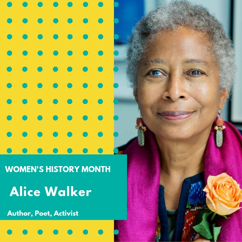 "Day 17: Alice Walker - Celebrated writer and avowed feminist, Walker works to promote change in the world and is a staunch defender of both women's and human rights. Walker studied at both Spelman College and Sarah Lawrence University where she actively participated in the Civil Rights movement. As an early activist, Walker helped register black voters in Georgia and participated in several anti-war protests with the Code Pink organization. She also coined the word ""womanism"" as a means to unite women of color with the feminist movement. In 1983, Alice Walker became the first African American to earn the Pulitzer Prize for fiction. Her wide-ranging literary works include seven novels and several collections of essays, poetry, and short stories that explore race and gender. Some of her more famous works include The Color Purple, ""Everyday Use,"" and In Search of Our Mother's Gardens. As a pacifist, Walker has been a long-standing supporter of the Women's International League for Peace and Freedom. Walker continues to travel to support those most marginalized and stand on the side of those leading the fight for equality and equity so that all people have the opportunity to thrive. 🌸🌸🌸 #womenshistorymonth #womensmarchbroward #womensmarchflorida #alicewalker"