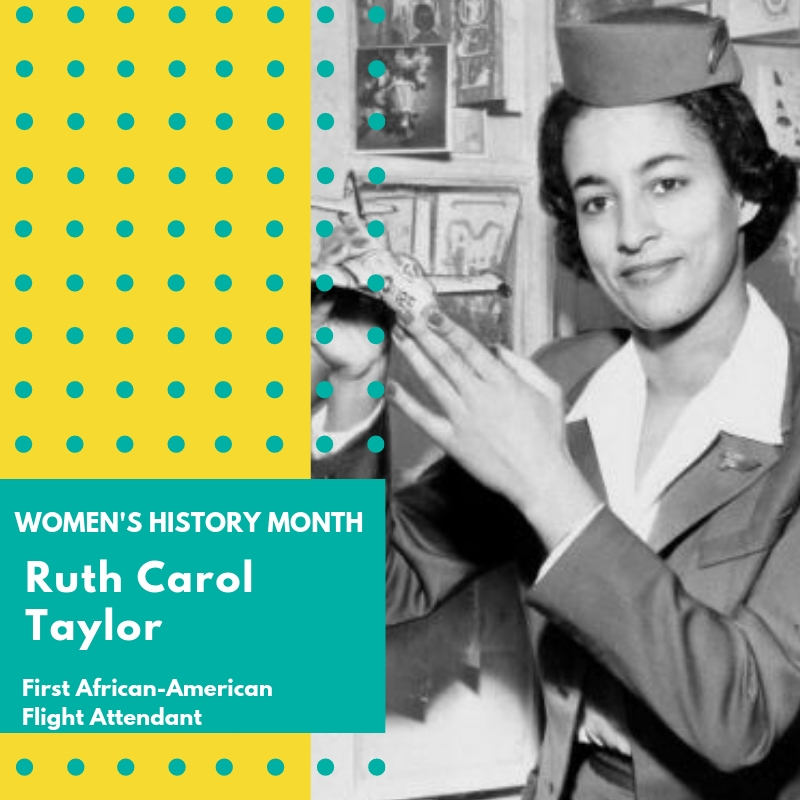 "Day 19: Ruth Carol Taylor - Ruth Carol Taylor made transportation history when she became the first African American flight attendant. She first worked with Mohawk Airlines and paved the way for other African Americans to have a place in the aviation industry. Taylor first began her career as a nurse, and then spent some time at the New York City Transit Authority before pursuing a career as a flight attendant. The New York State Assembly formally recognized Taylor for her instrumental role in integrating US airlines. In addition, after leaving the airline industry, she became a journalist covering the historic March on Washington. She also founded The Institute for ""Interracial"" Harmony, Incorporated, where she developed the concept of Racism Quotient Testing, and authored The Little Black Book: Black Male Survival in America, which provided young Black males instructions on surviving in the United States. Taylor continues to fight for racial equality today. 🌸🌸🌸#womenshistorymonth #womensmarchbroward #womensmarchflorida #ruthcaroltaylor"