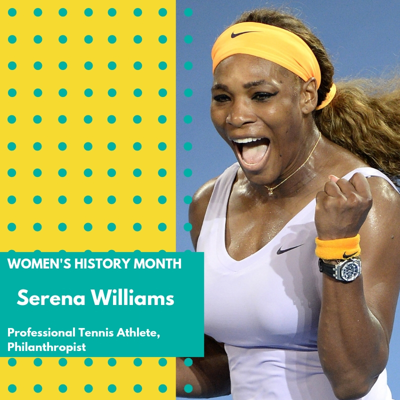 Day 28: Serena Williams - Beginning in the late 1990's, Serena Williams became one of the world's most talented and exciting tennis players. Her skills on the court happen to be extraordinary, the result of years of training, natural ability, and a powerful determination to win. Williams has gained additional attention as an African American athlete in a sport generally dominated by white players. Her 1999 singles victory at the U.S. Open made her only the second black woman ever to win a Grand Slam title. The Grand Slam tournaments—the Australian Open, the French Open, Wimbledon, and the U.S. Open—are among the game's most visible and significant events for pros. By Williams's side—and often across the net—has been her older sister, Venus, an equally commanding player. Both sisters spent several years at the top of the world tennis rankings, each reaching the number-one position in 2002. As of the summer of 2004, Serena Williams had won six singles titles in Grand Slam events as well as numerous doubles titles, including a gold medal at the 2000 Olympic Games in Sydney, Australia. An ambitious, multi-talented person, Williams has also, since 2002, explored acting, appearing in several television episodes and pursuing film roles as well. In addition, she has, along with her sister, studied fashion design.Williams has become more involved in social change as her career has progressed, primarily using social media as a medium of expressing her views. In 2016 she posted her support of Black Lives Matter on her Facebook page, voicing her concern about her young nephew being in danger from police officers due to his skin color. 🌸🌸🌸#womenshistorymonth #womensmarchbroward #womensmarchflorida #serenawilliams