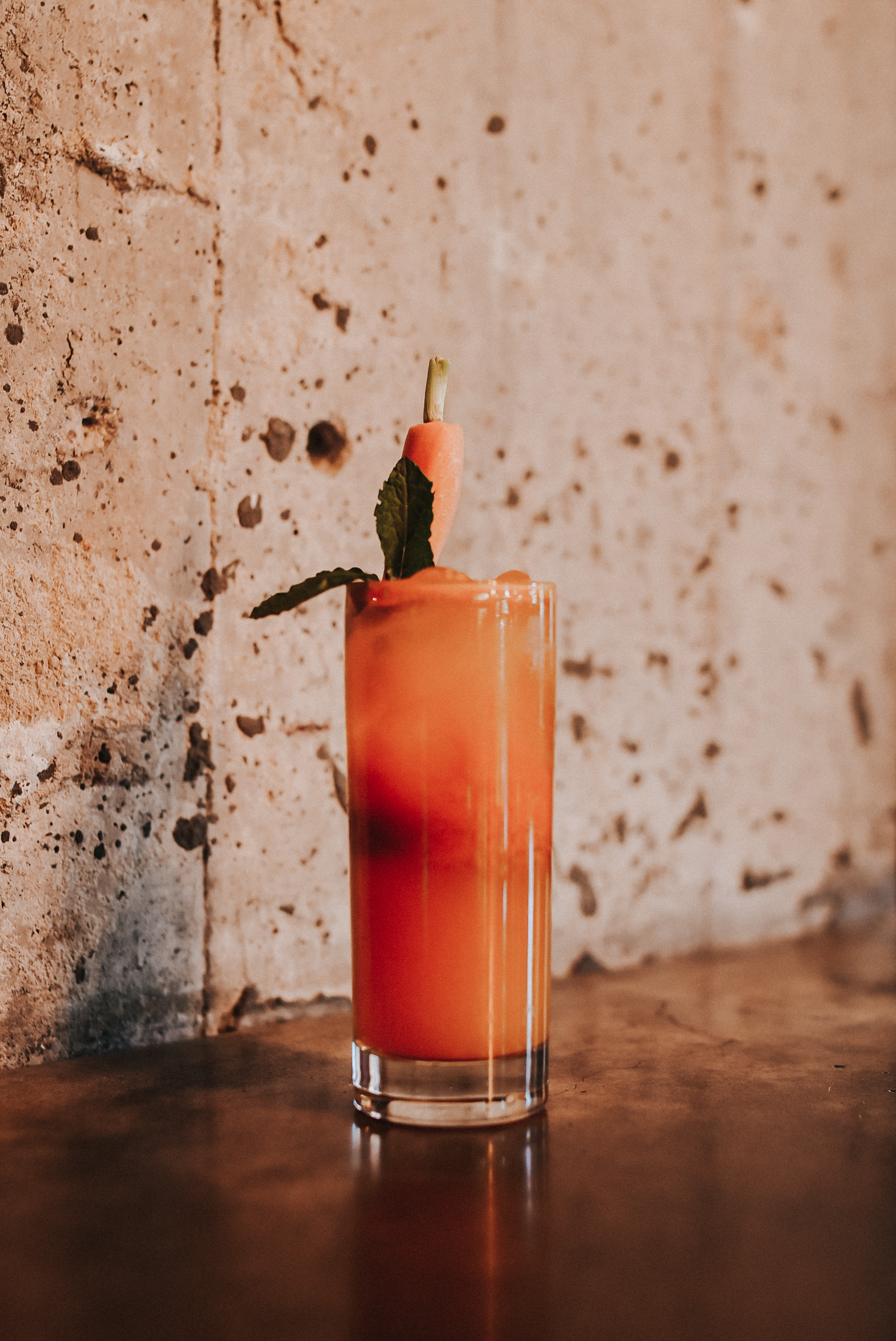 WHAT'S UP, DOC? - Creyente Mezcal, turmeric syrup,carrot juice, smashed ginger, freshlemon juice