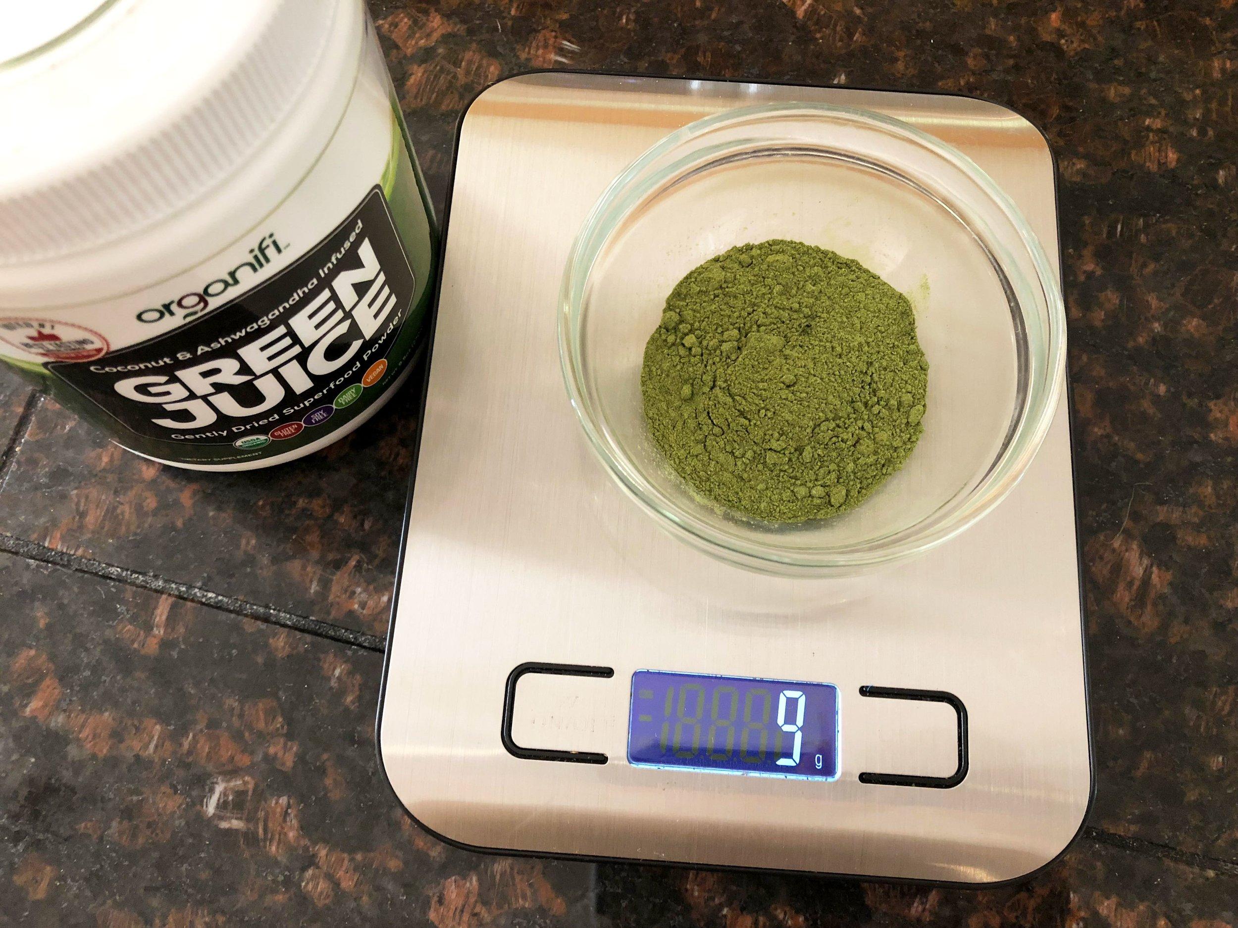 A Scoop of Green Juice Weighs to Nine Grams