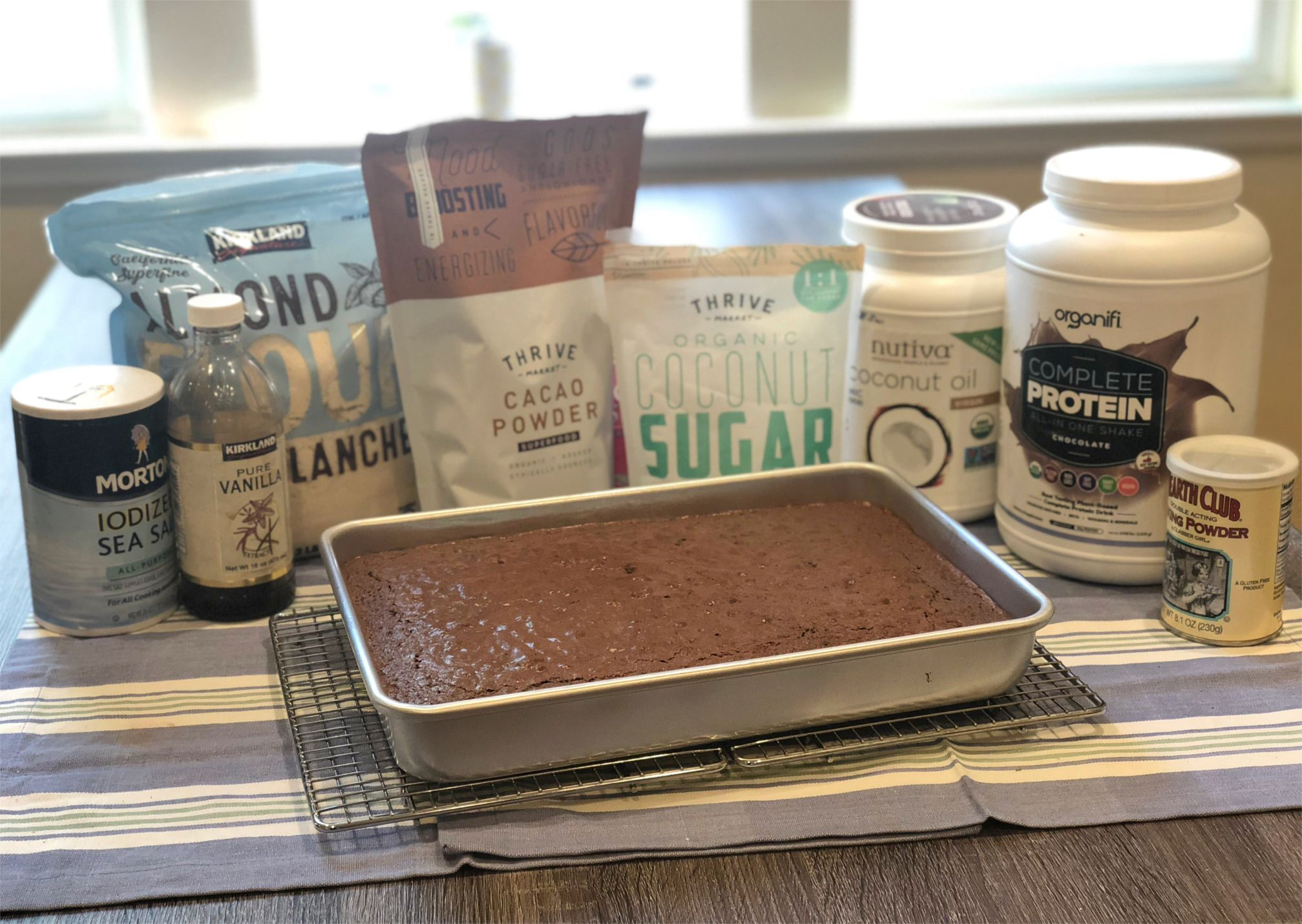 Brownies in tray with Ingredients