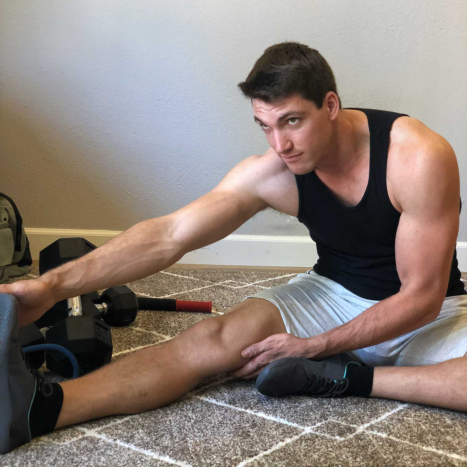 Author Stefan Burns performing a Hamstring Stretch
