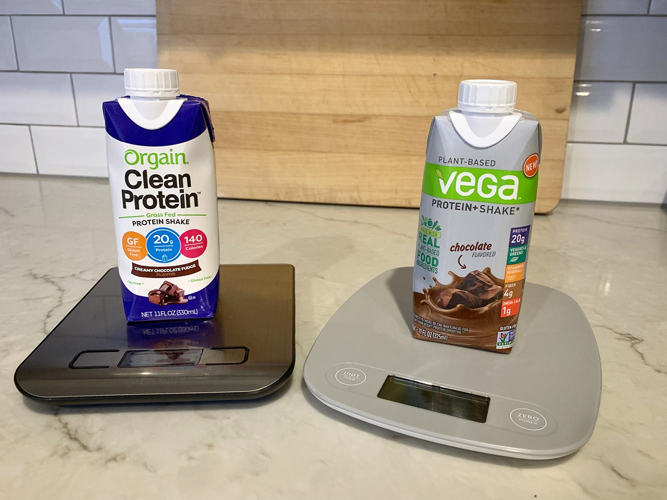 Dairy vs Plant Protein Shakes on scales in a kitchen