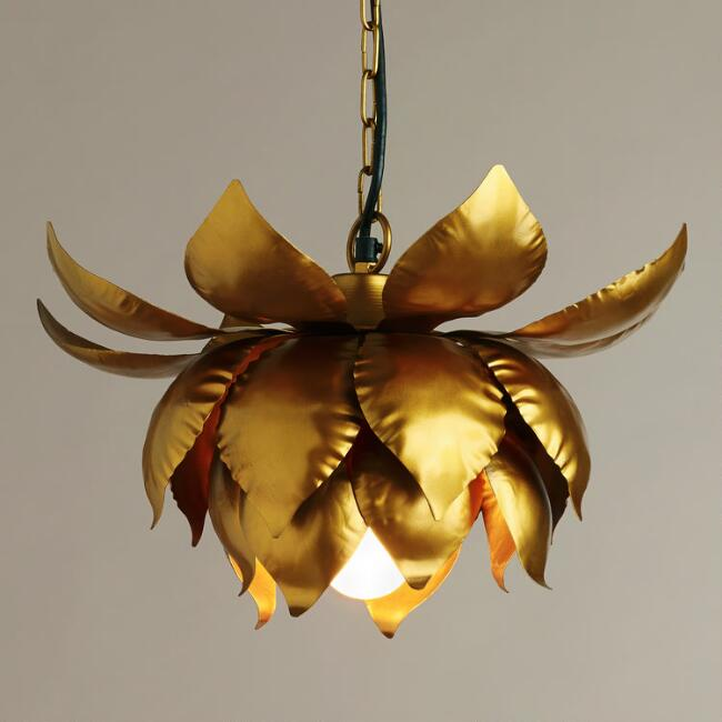 World Market //  Gold Lotus Hanging Pendant