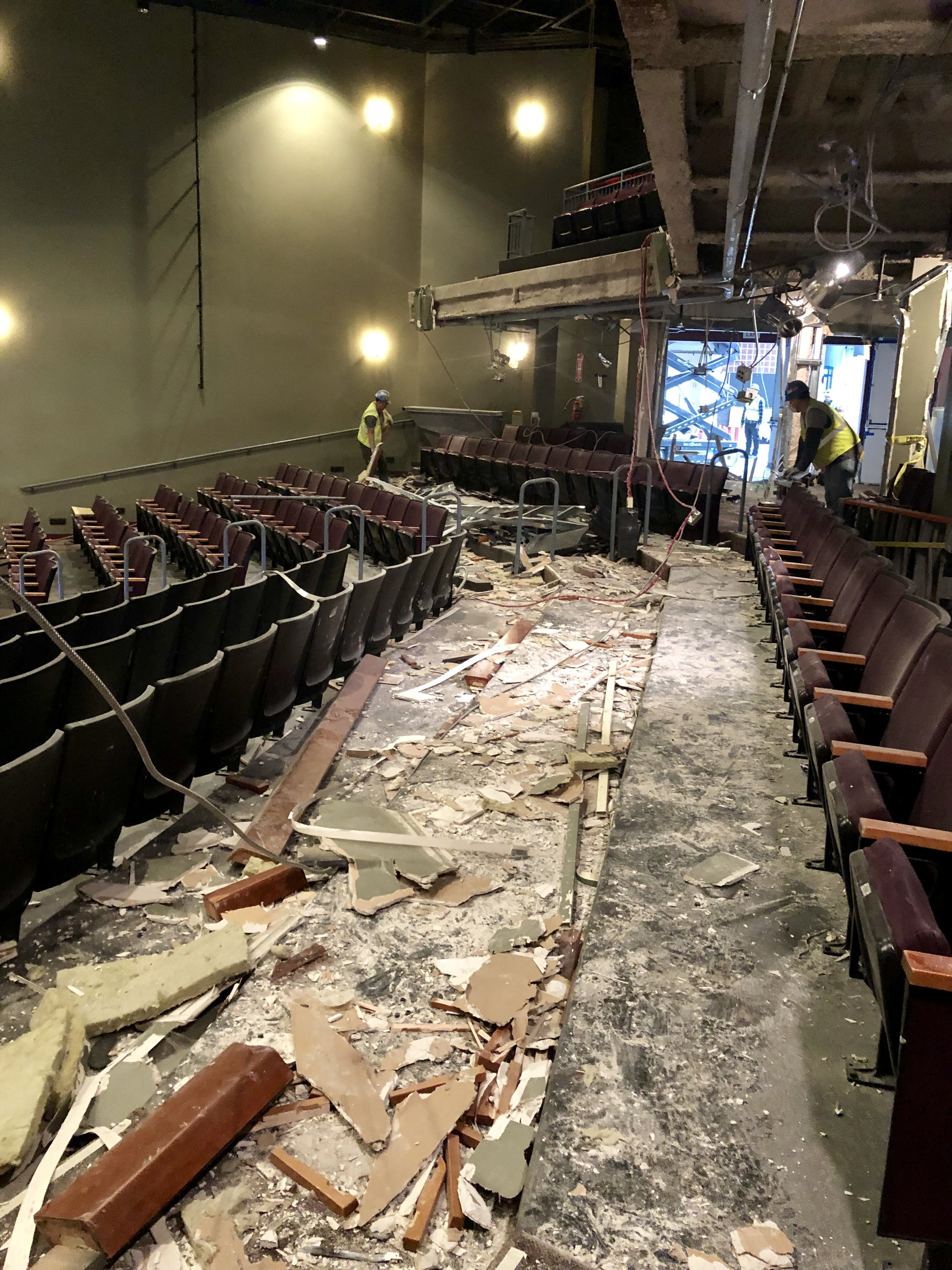 January 2019  - The existing seats in theatre were removed to allow new concrete to form the new curved seating arrangement.