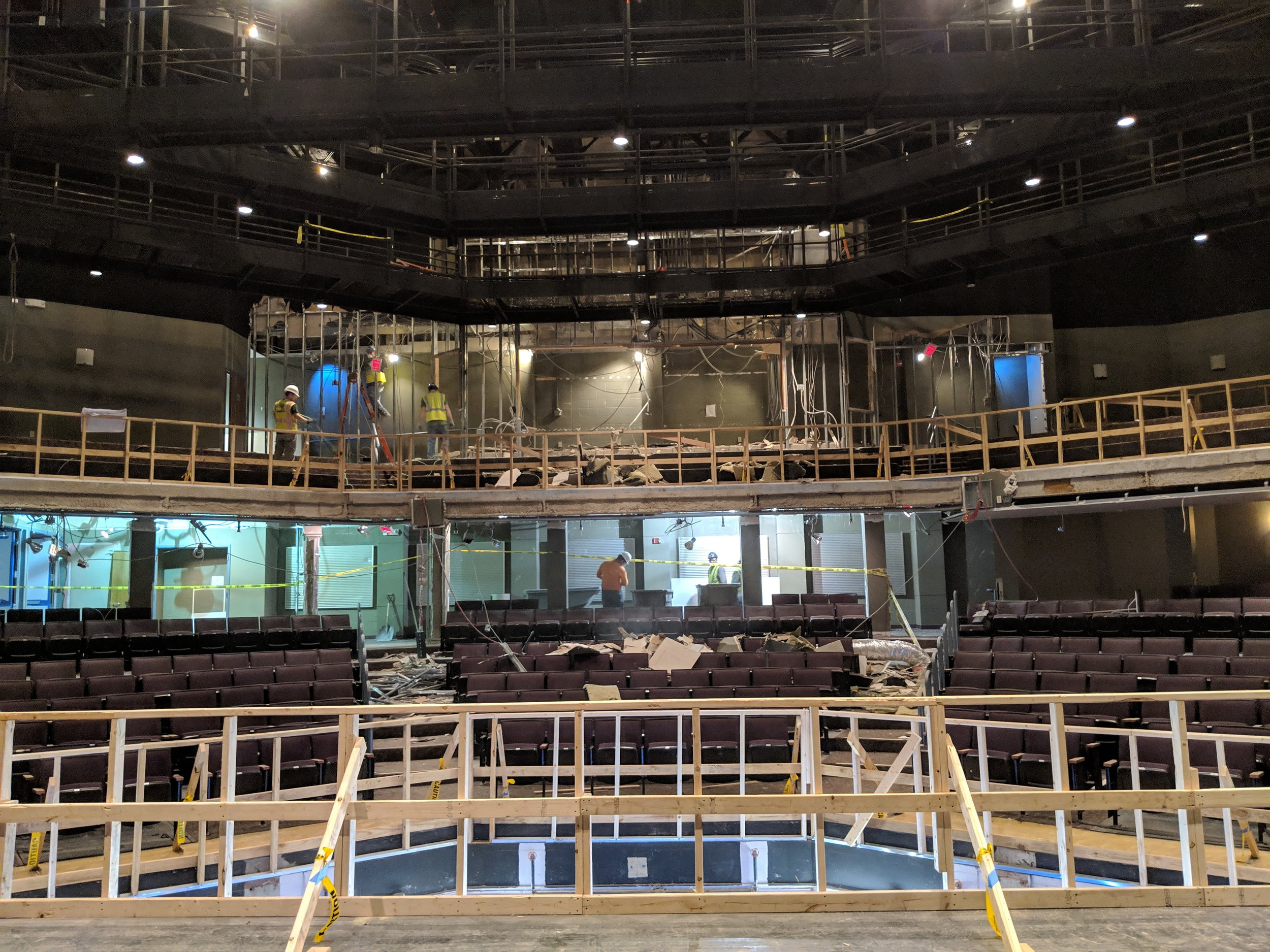 January 2019  - The view from the stage is very different now! The control booth walls up in the balcony have been torn down, as well as the walls in the back of the house.