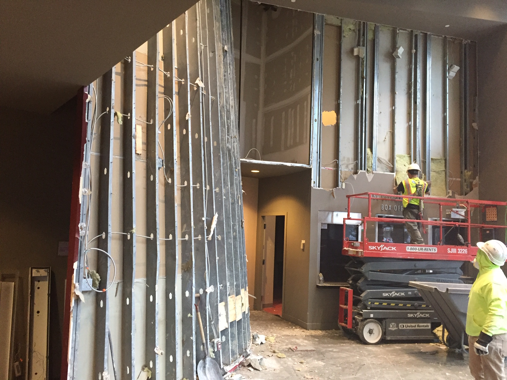 January 2019  - The front lobby is getting a full makeover, meaning the existing coat room and Box Office walls were taken down to make room for the new lobby features.