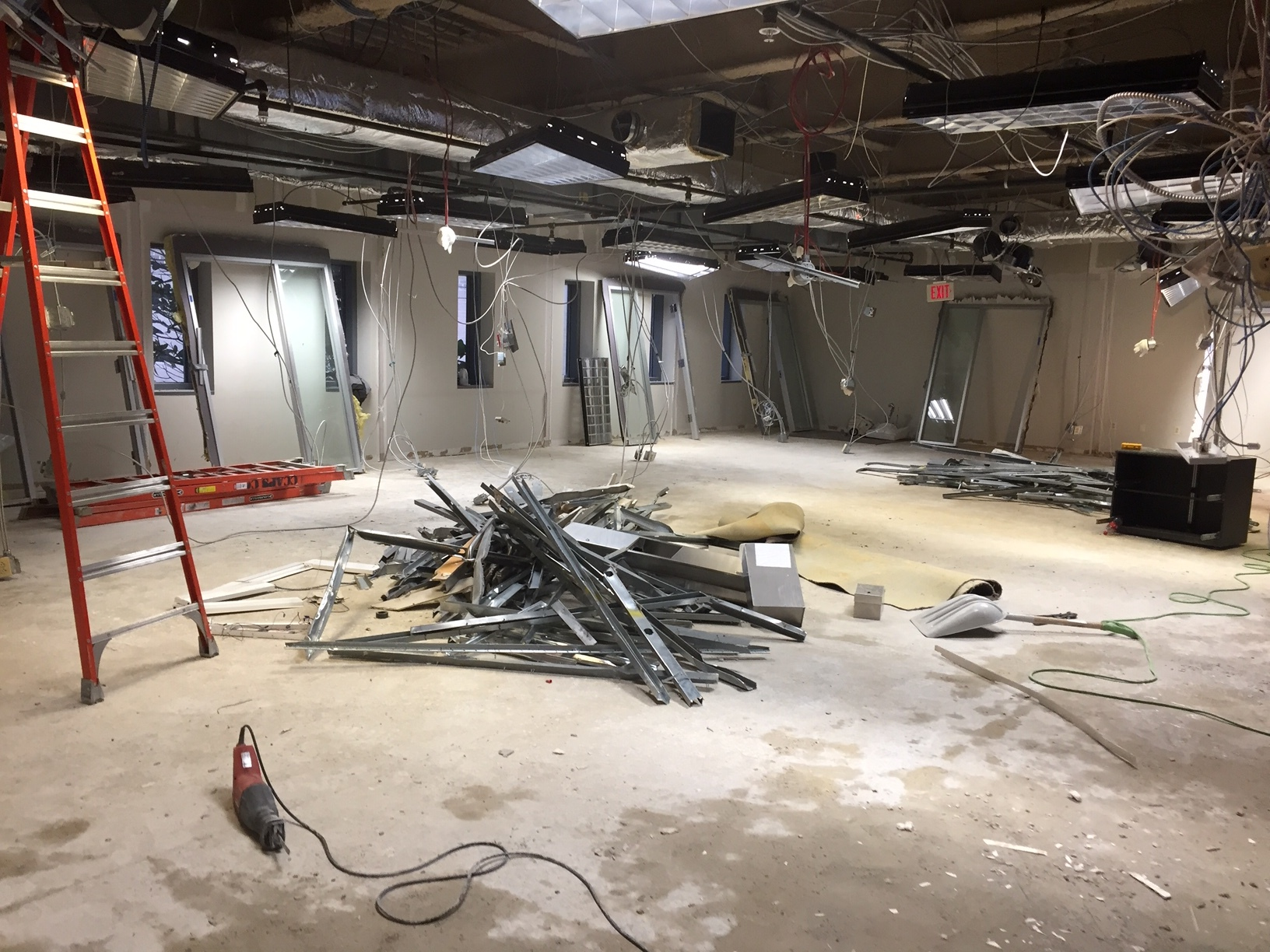 January 2019  - What used to be the conference room and administrative offices will become the spacious Event Room, requiring demolition of all interior walls.