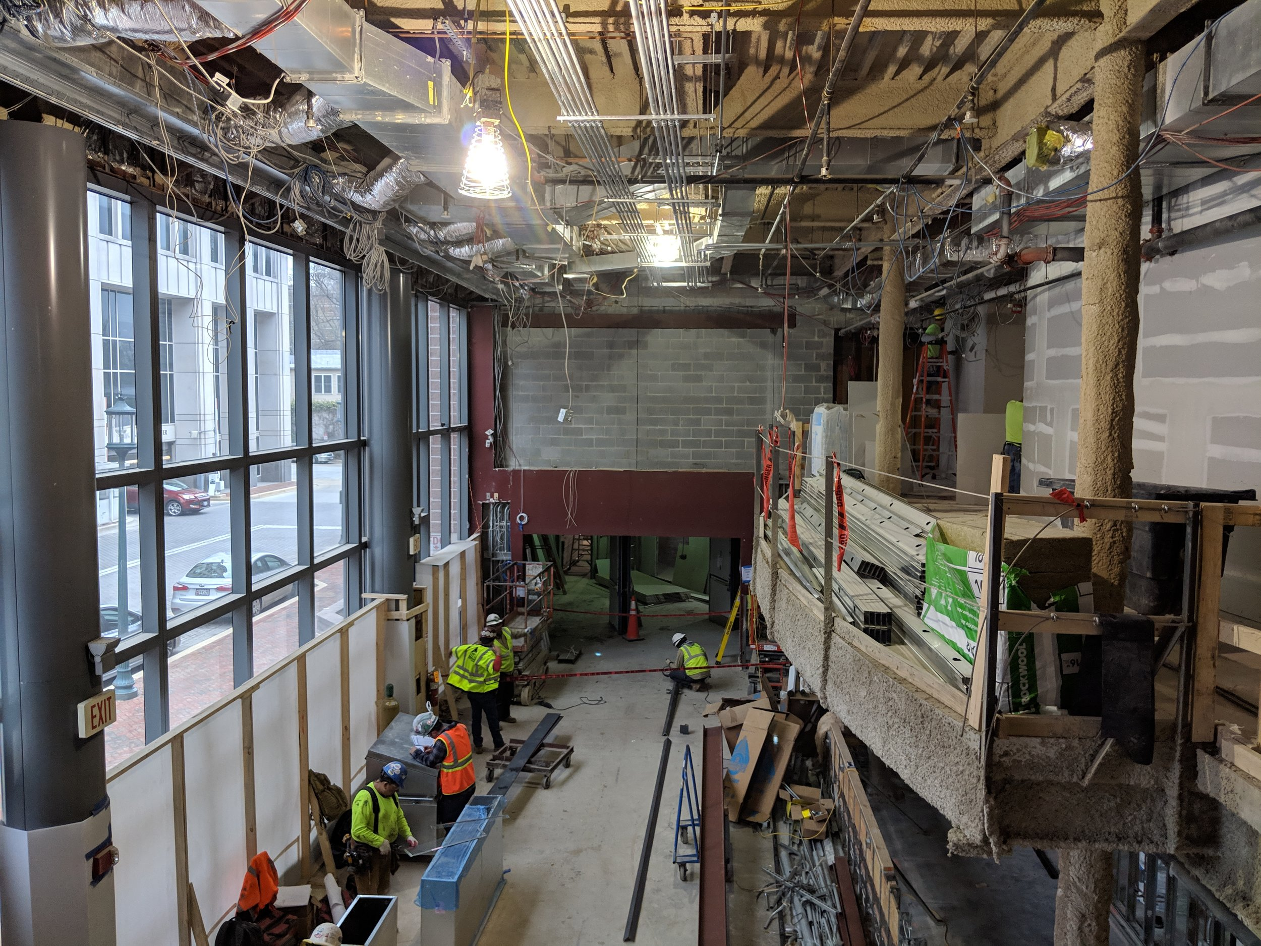 March 2019  - From the view at the top of the lobby staircase, you can see the curved balcony over the new café bar.