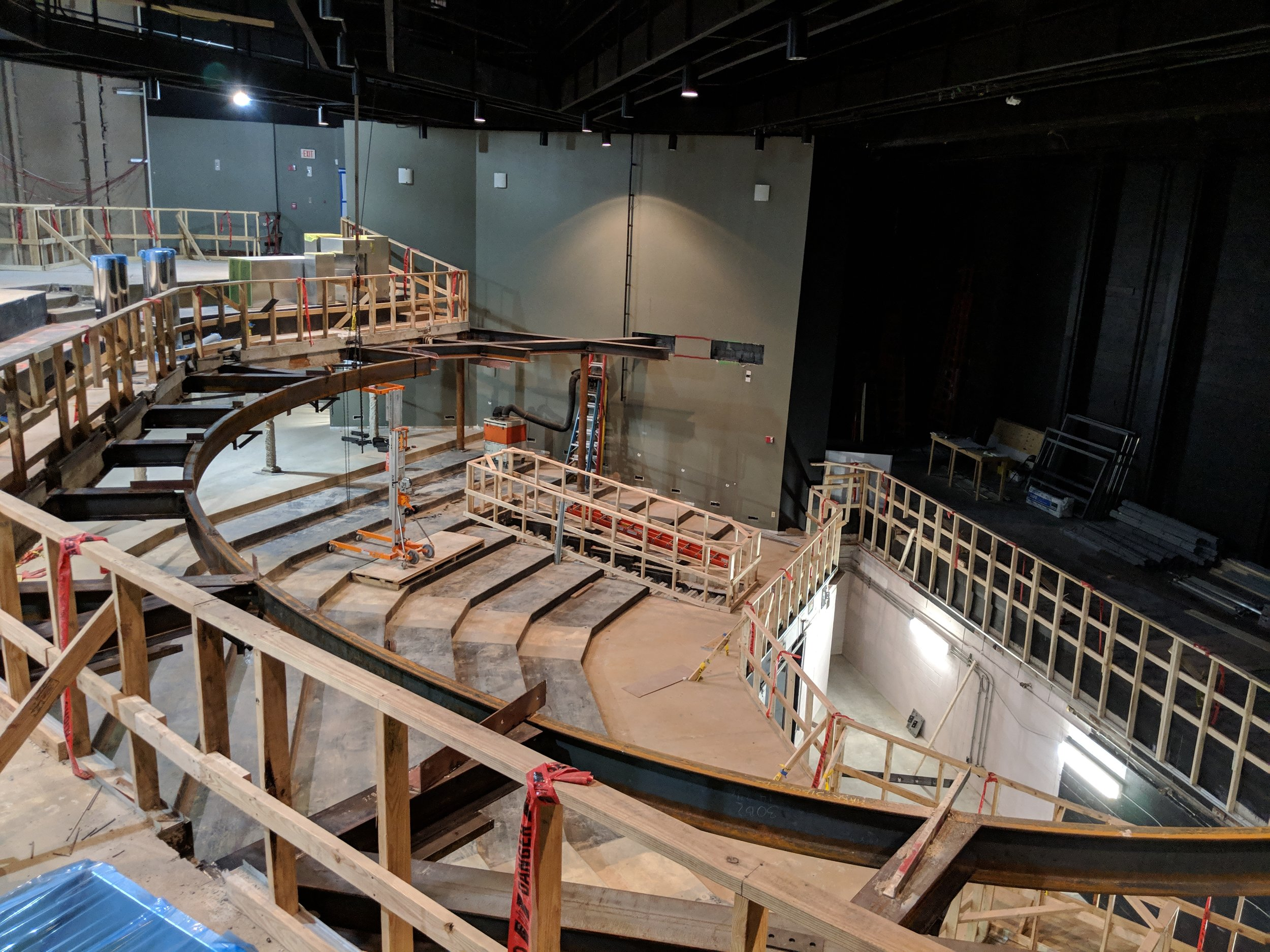February 2019  - The steel beam you see here serves as the foundation for the new wrapped balcony that will bring the audience closer to the stage.