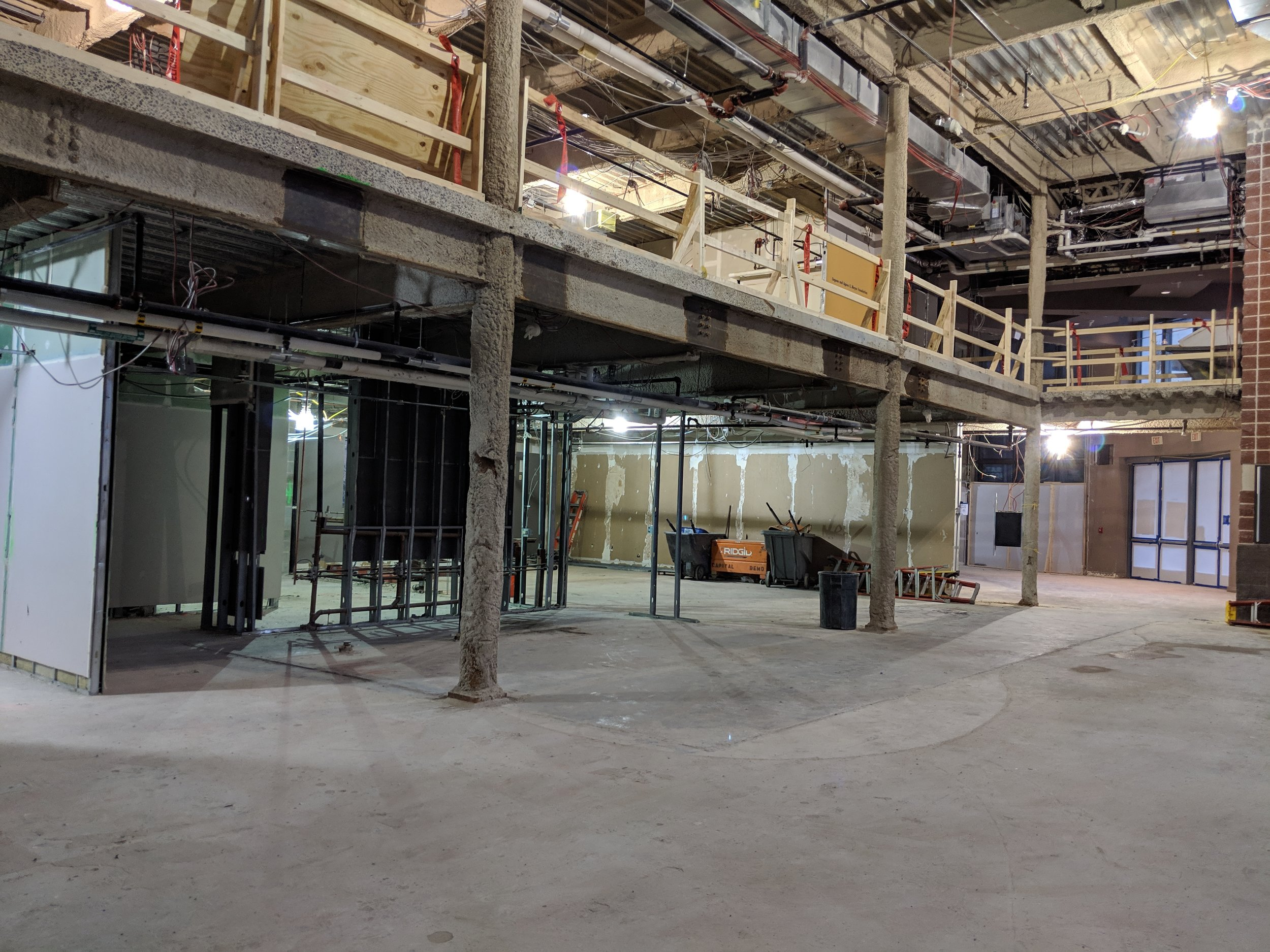 February 2019  - Where the concessions bar used to be has been completely removed, as well as most of the interior walls that separated the Patrons Lounge, restrooms, and storage closets.