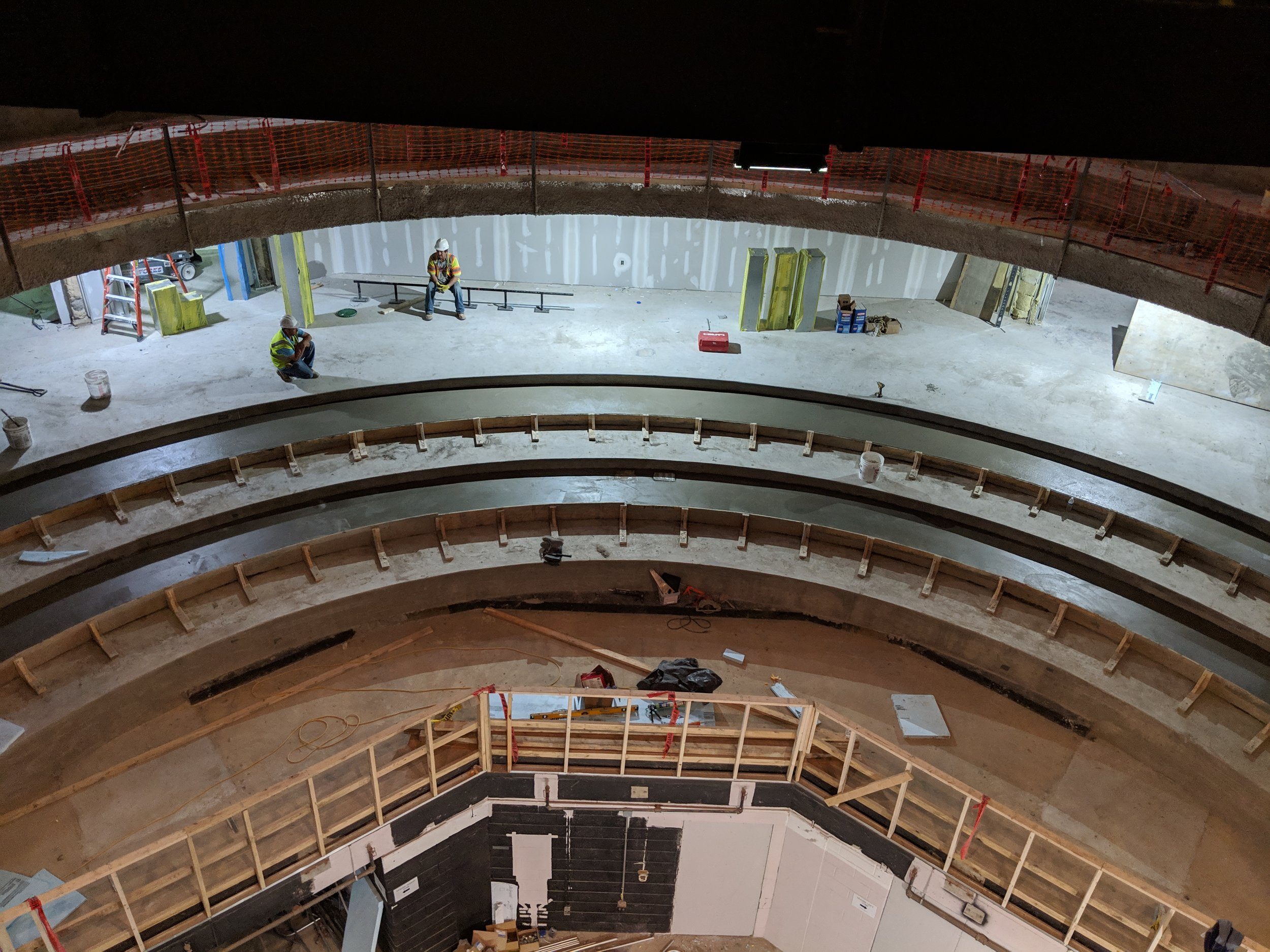 May 2019  - Concrete has been poured to form the new curved seating shape in the orchestra.