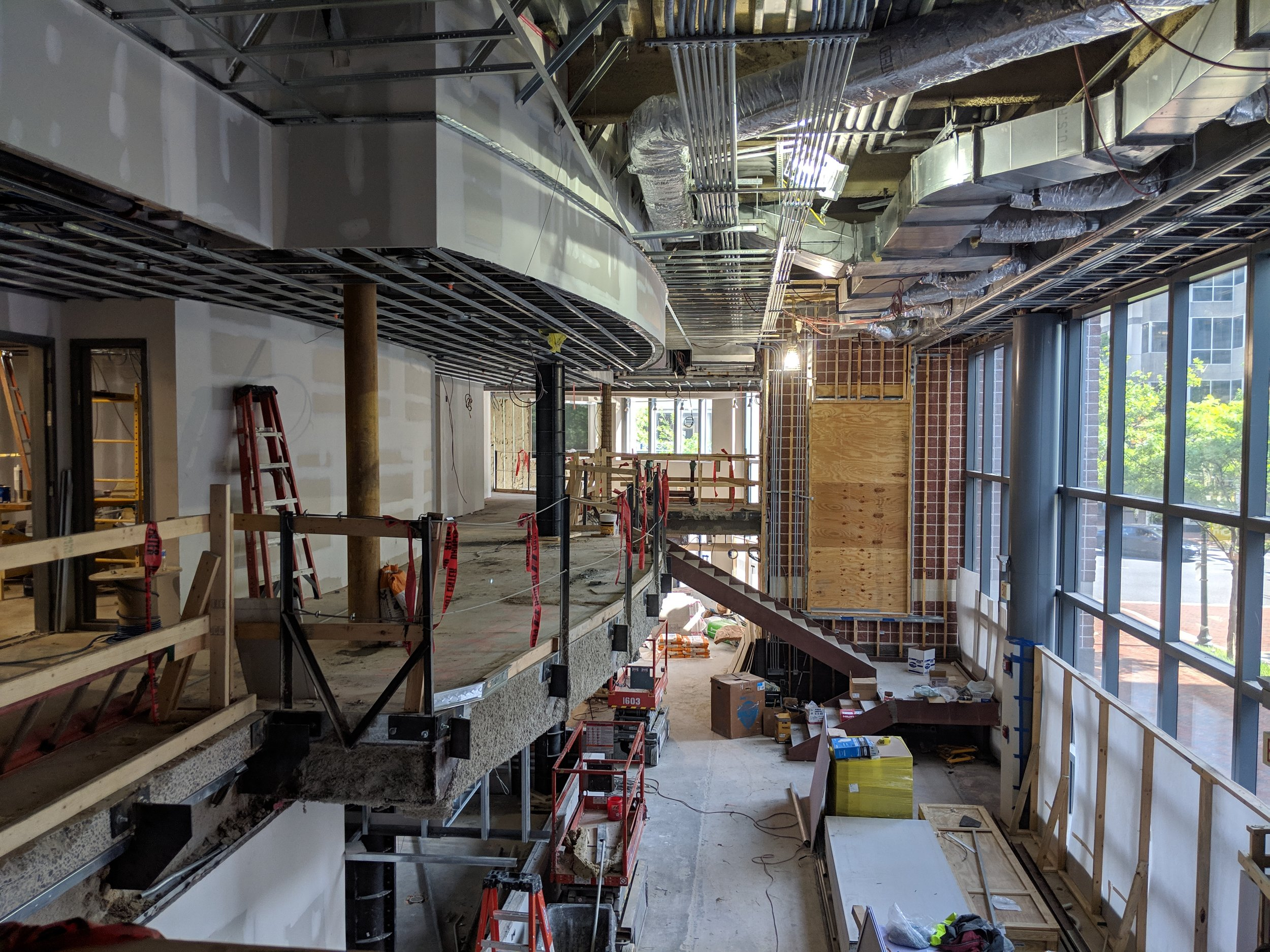 May 2019  - In the lobby, the curved feature has been added to the ceiling to echo the balcony shape, where the railing will soon be installed.
