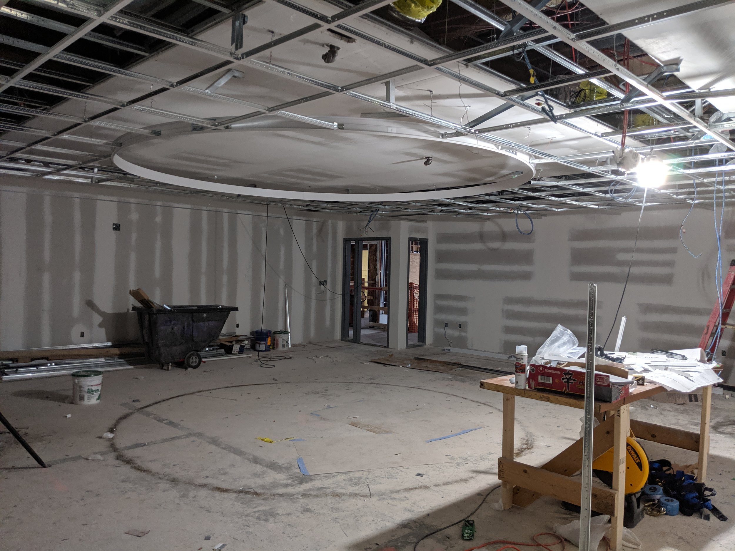 June 2019  - Inside the Event Room, a circular LED lighting fixture will be a central feature in the new space. With color changing and dimming options, the Event Room will be transformed for community events, special dinners, readings, and much more.