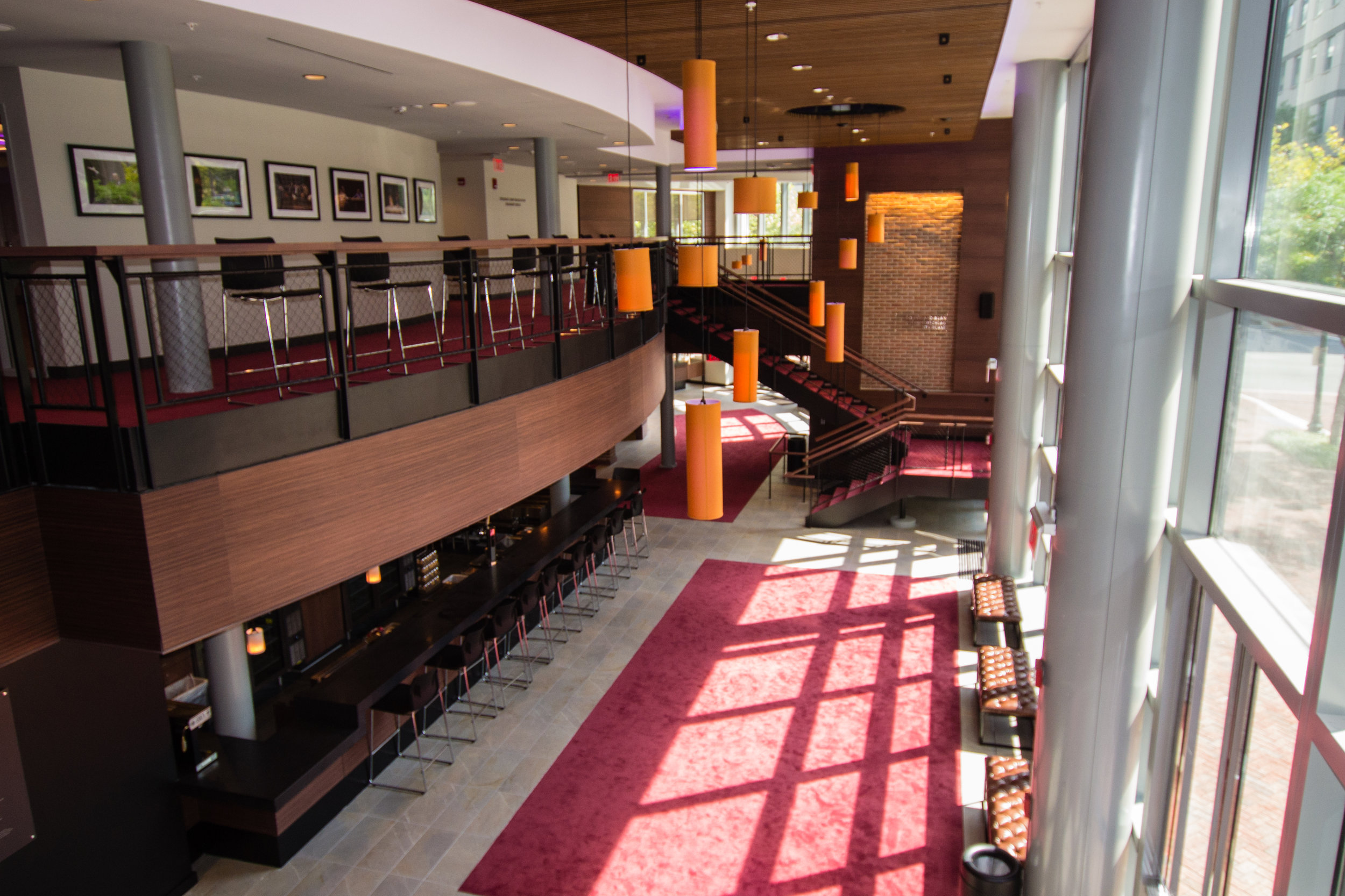 August 2019  - The view of the main lobby from the new balcony foyer