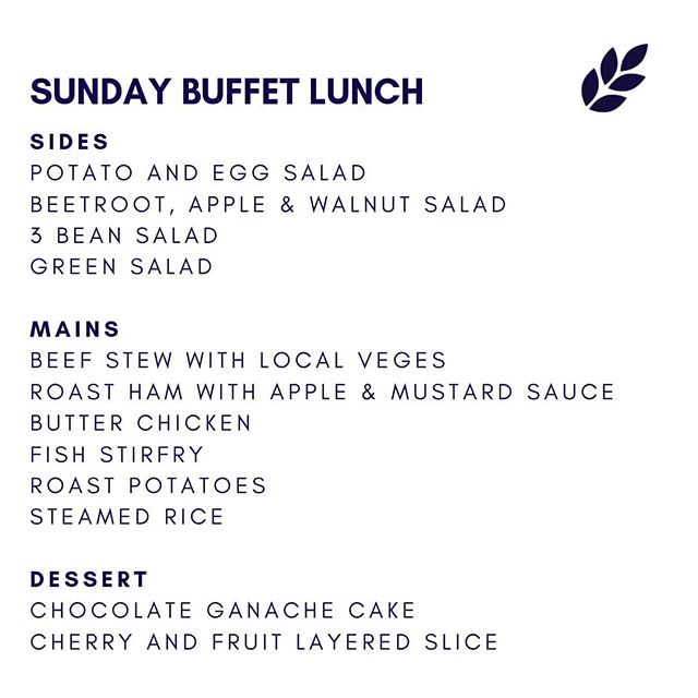 We're whipping up a feast for Sunday lunch! Buffet lunch 18th August, grab your friends and whanau and let us do the cooking!  Bookings recommended.  #harvestbarandkitchen #waimate #sundaylunch