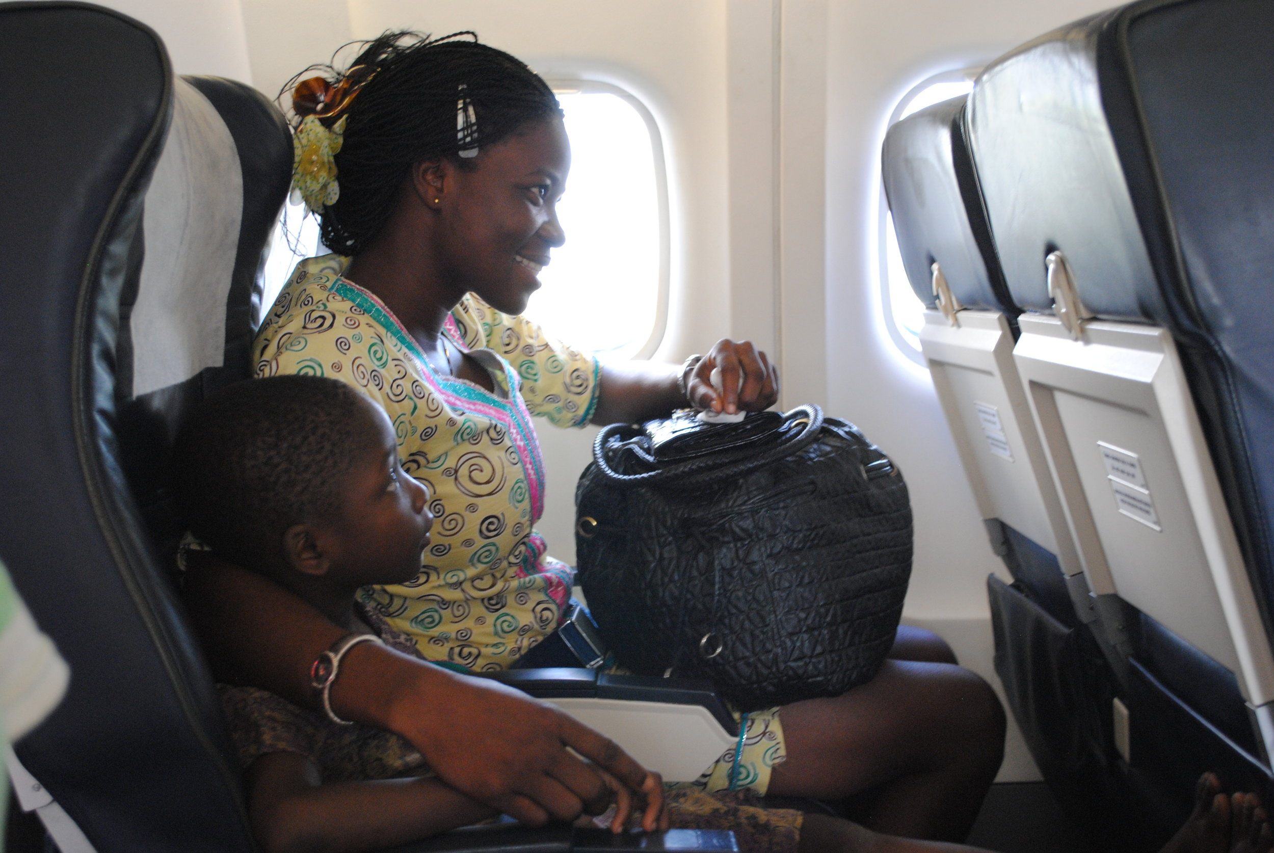 Mercy had not flown prior to this trip either. She got her jitters out on the trip from Accra to Kumasi and was all smiles for the journey home. Gloria stuck to her like glue.