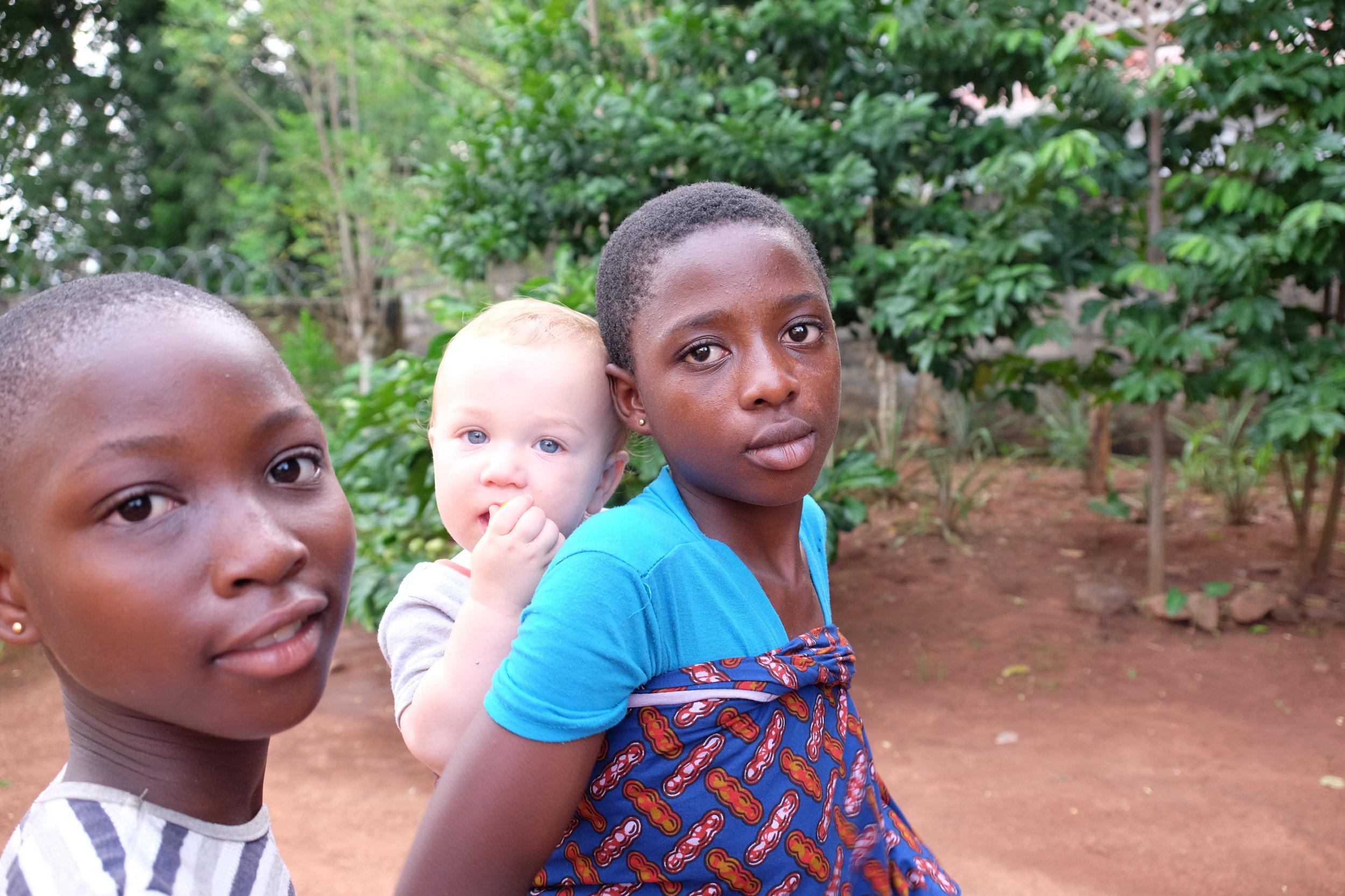 Gloria and Sarah Jr.—wearing Lewis the Ghanaian way.
