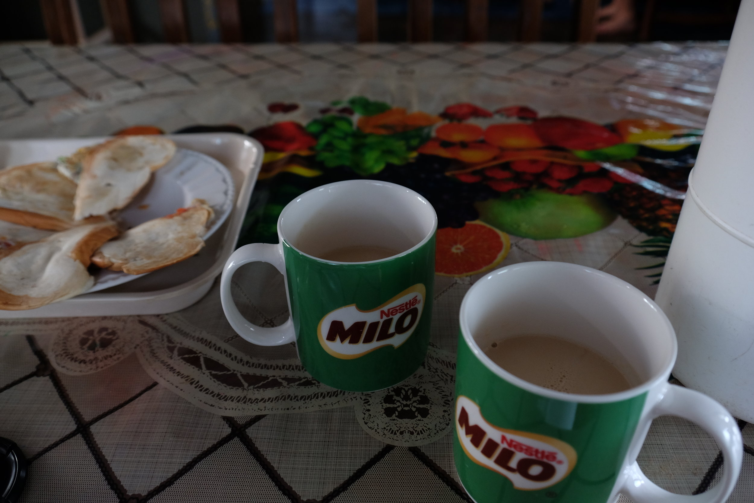 Breakfasts at the Yellow House are my favorite! Viva Cafe in Milo mugs and egg sandwiches.