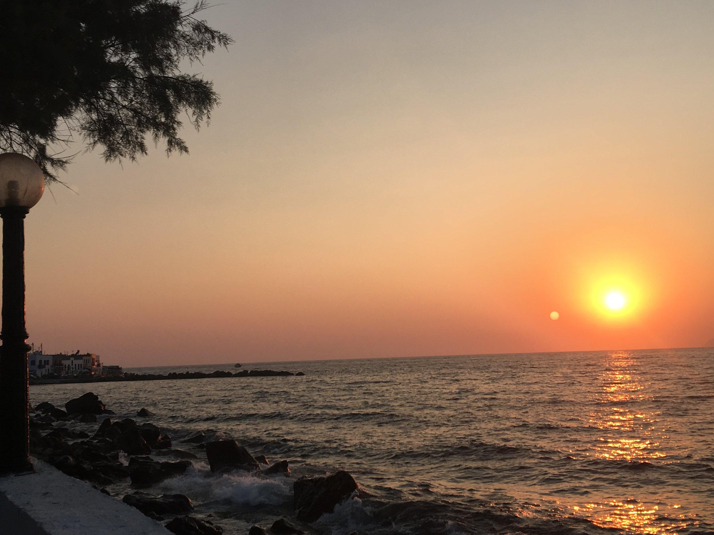 Beautiful sunset on the island of Nisyros, Greece
