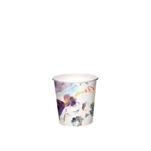 4oz Single Wall PLA Art Edition - Paper Cup Project cups are lined with a renewable plant based material which can be recycled or composted.Packaging Specifications:1000 units per cartonSuitable LidWhite Lid Fits 4oz CupsBlack Lid Fits 4oz Cups