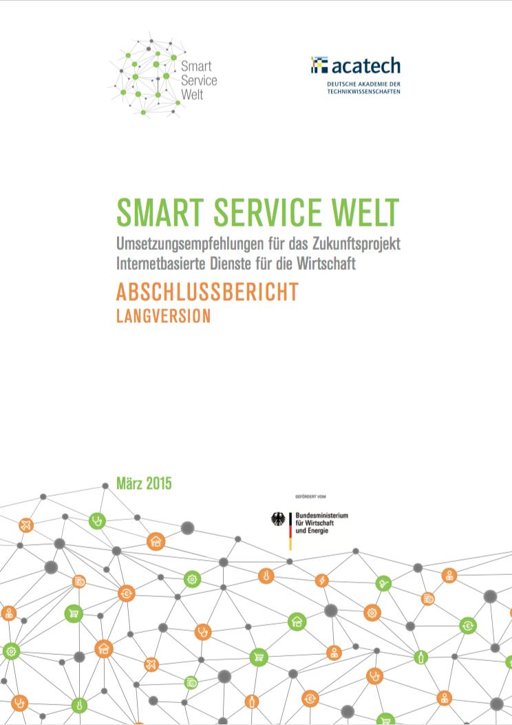 """Smart Service Welt - Umsetzungsempfehlungen für das Zukunftsprojekt Internetbasierte Dienste für die WirtschaftErscheinungsjahr: 2015Im Rahmen des Zukunftsprojekts """"Internetbasierte Dienste für die Wirtschaft"""" der Bundesregierung haben 150 Expertinnen und Experten im Arbeitskreis """"Smart Service Welt"""" konkrete Umsetzungsempfehlungen erarbeitet, wie Deutschland und Europa die gute Ausgangsposition in der Industrie 4.0 nutzen können, um weiter in diesem digitalen Wettlauf mitzuspielen. Vertreter aus Industrie, Wissenschaft, Gewerkschaften, Verbänden und Verwaltungseinrichtungen entwickelten auf Initiative der Bundesregierung zwei Jahre lang technische Grundlagen, entwarfen Anwendungsbeispiele und beschäftigten sich mit den Auswirkungen der Digitalisierung auf die Zukunft der Arbeit, den Schutz von Daten und Privatsphäre und der Notwendigkeit eines digitalen europäischen Binnenmarkts.Autoren: diverseHerausgeber: acatech (Deutsche Akademie der Technikwissenschaften) im Auftrag der BundesregierungLink zur Studie"""
