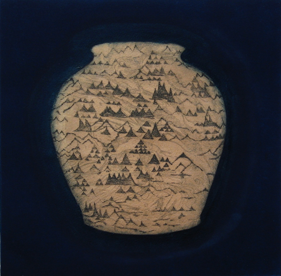 'Land', inspired by a shell at the British Museum which reminded me of imaginary landscapes… the shape of the pot is one that carries water. — Sally Spens