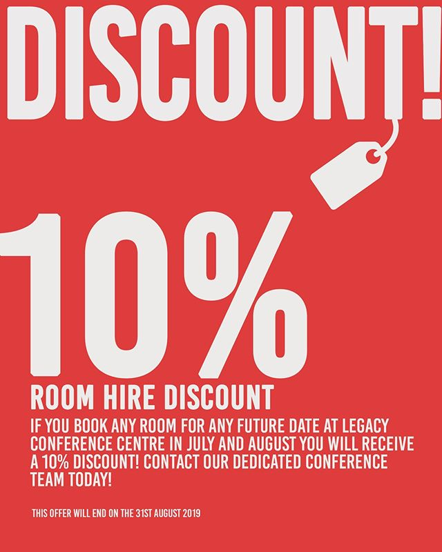 If you book any conference suite for any future date you will receive 10% discount! Hurry offer is only on until the 31st August. #conference #conferencecentre #doncaster #southyorkshire #event