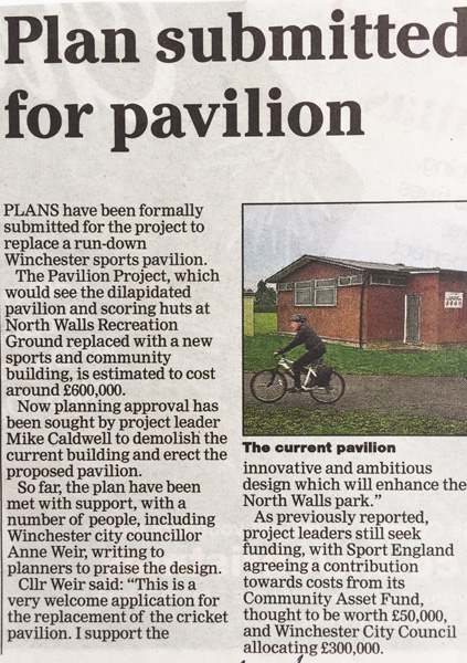 Recent news articles in the Hampshire Chronicle about The Pavilion Project