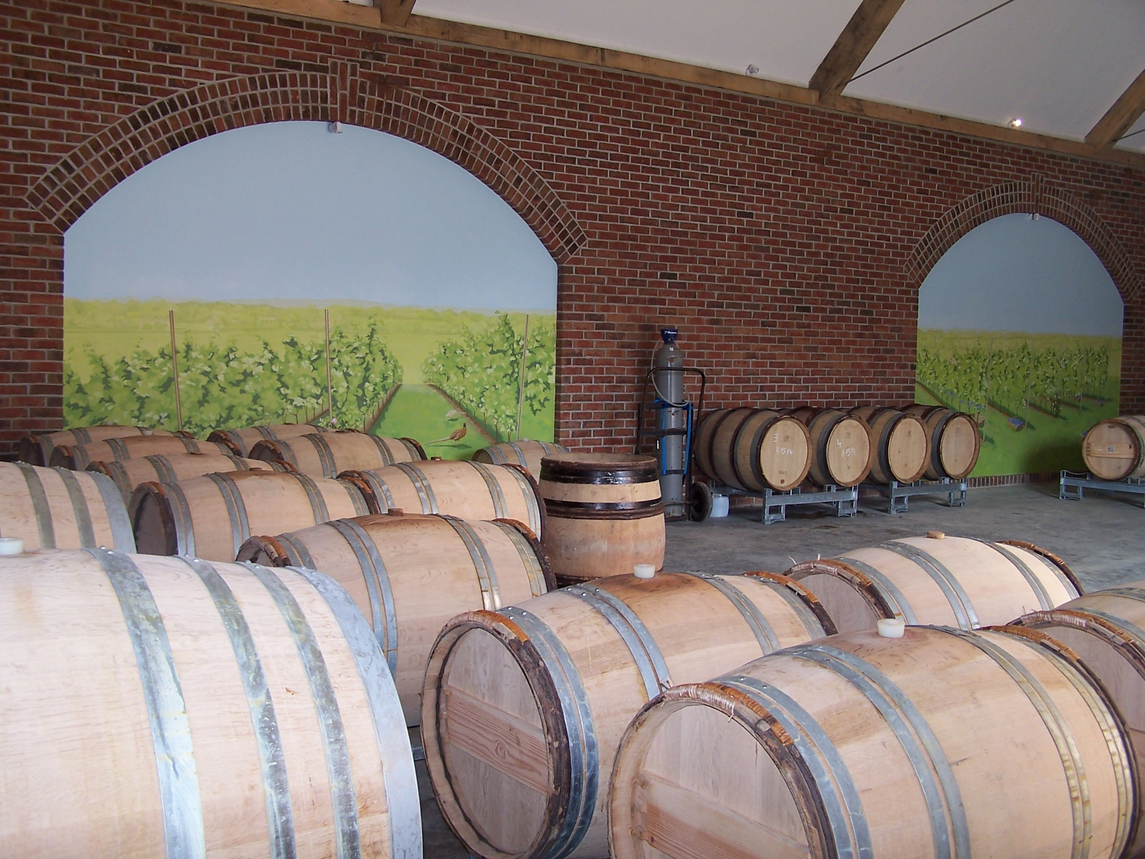 6. Barrel Fermentation - Each barrel is inoculated with yeast for fermentation and kept in temperature-controlled storage.