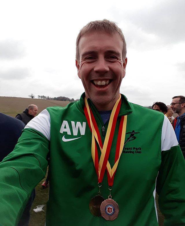 Middlesex cross country championships. I won bronze in the individual V40 comp and we won the V40 team prize. Not too shabby as I wasn't even sure I'd make it round, after picking up a thigh strain marathon training.  #jigsawpersonaltraining #jigsawrunningcoaching #crosscountryrunning #middlesex #runnersofinstagram #runningcoach #racing #bloodyhilly #personaltraining #loverunning #postracebeer #notbadforanoldbloke #tprc #veterans #masters #trentparkrunningclub  #bling #goldmedal #bronzemedal