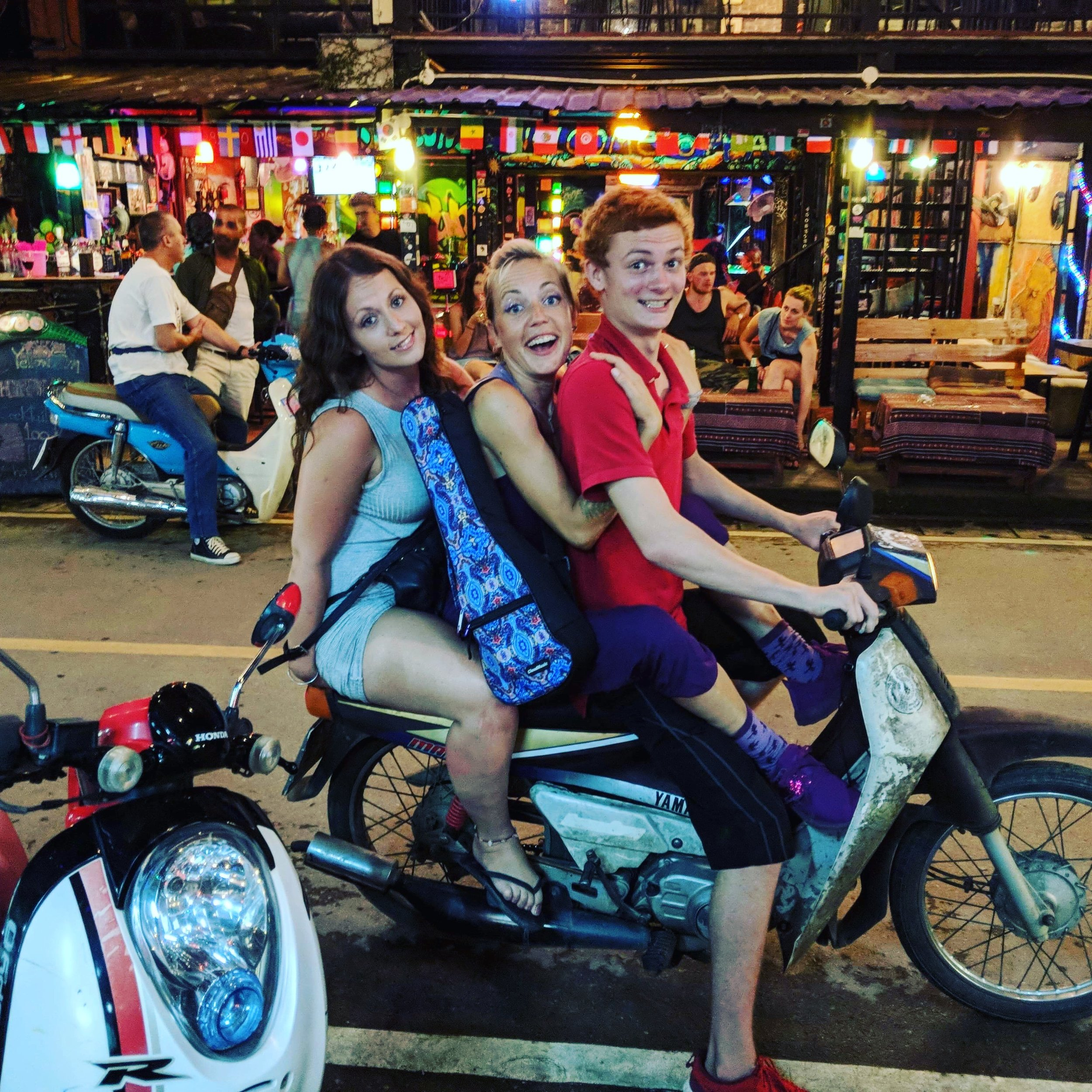 fabulous scooter ride with fellow Kung Fu friends Zeke and Leah! We are being so #thai here, the only thing we are missing to be truly #authenitc would be a dog and a baby on the phone added to the whizzing bike.