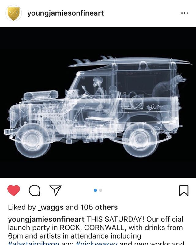 Repost of Young Jamieson Fine Art. Opening tonight in Rock Cornwall. I'll be there to celebrate.  @youngjamiesonfineart  #nickveaseyxray  #xrayart  #contemporaryart  #landroverdefender