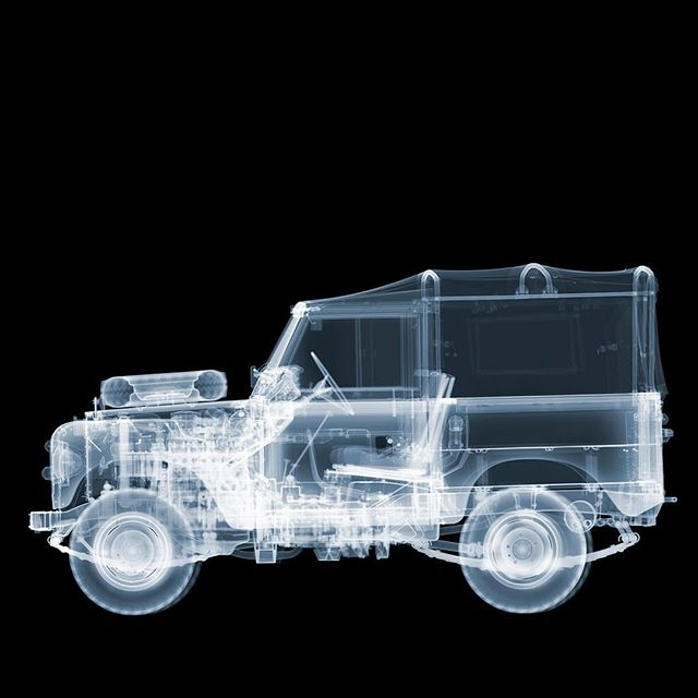 Land Rover Defender revealing the inherent rugged beauty after we have xrayed this absolute classic.  #nickveaseyxray  #landroverdefender  #contemporaryart  #classiccars  #processgallery