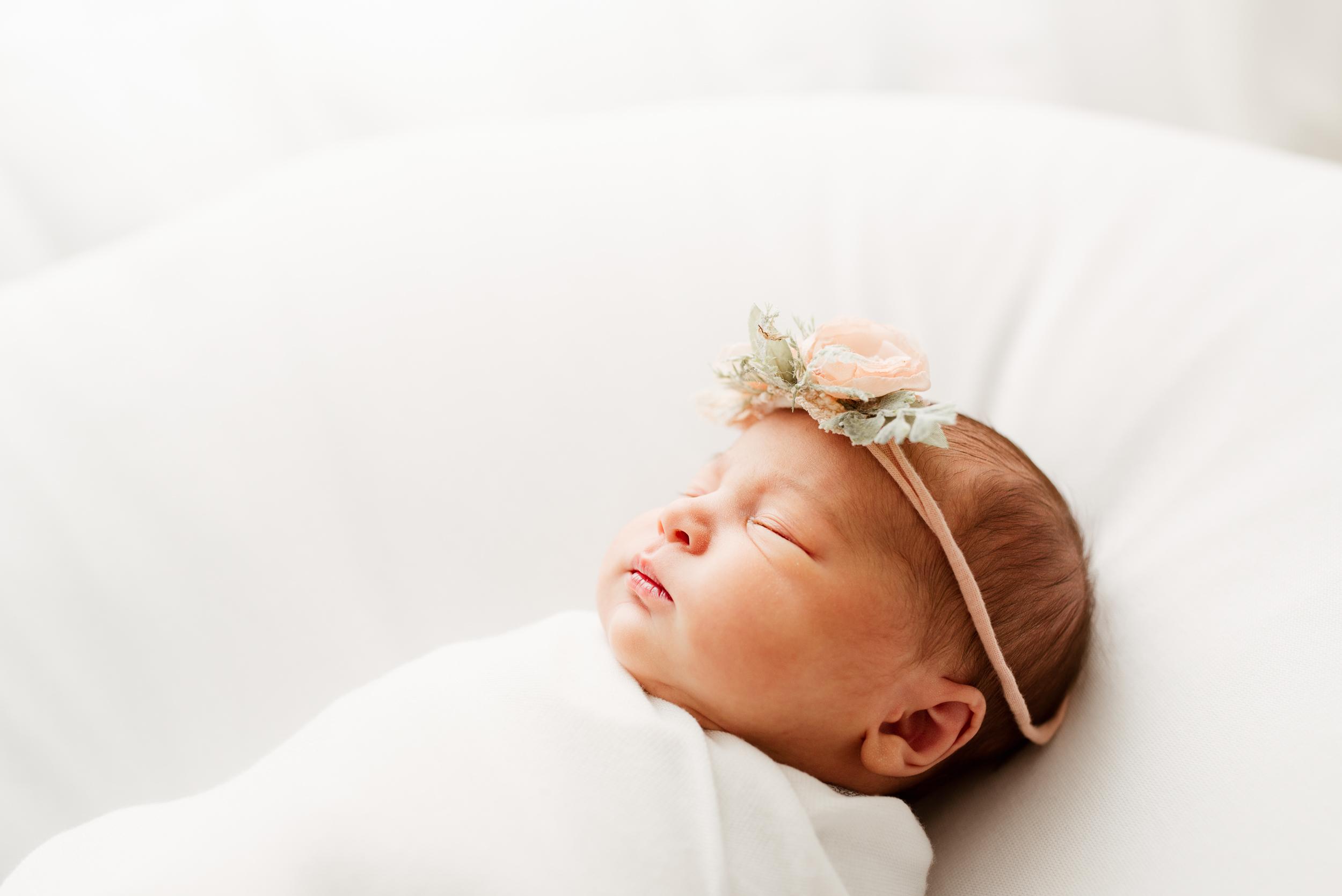 Baby Girl sleeping with headband