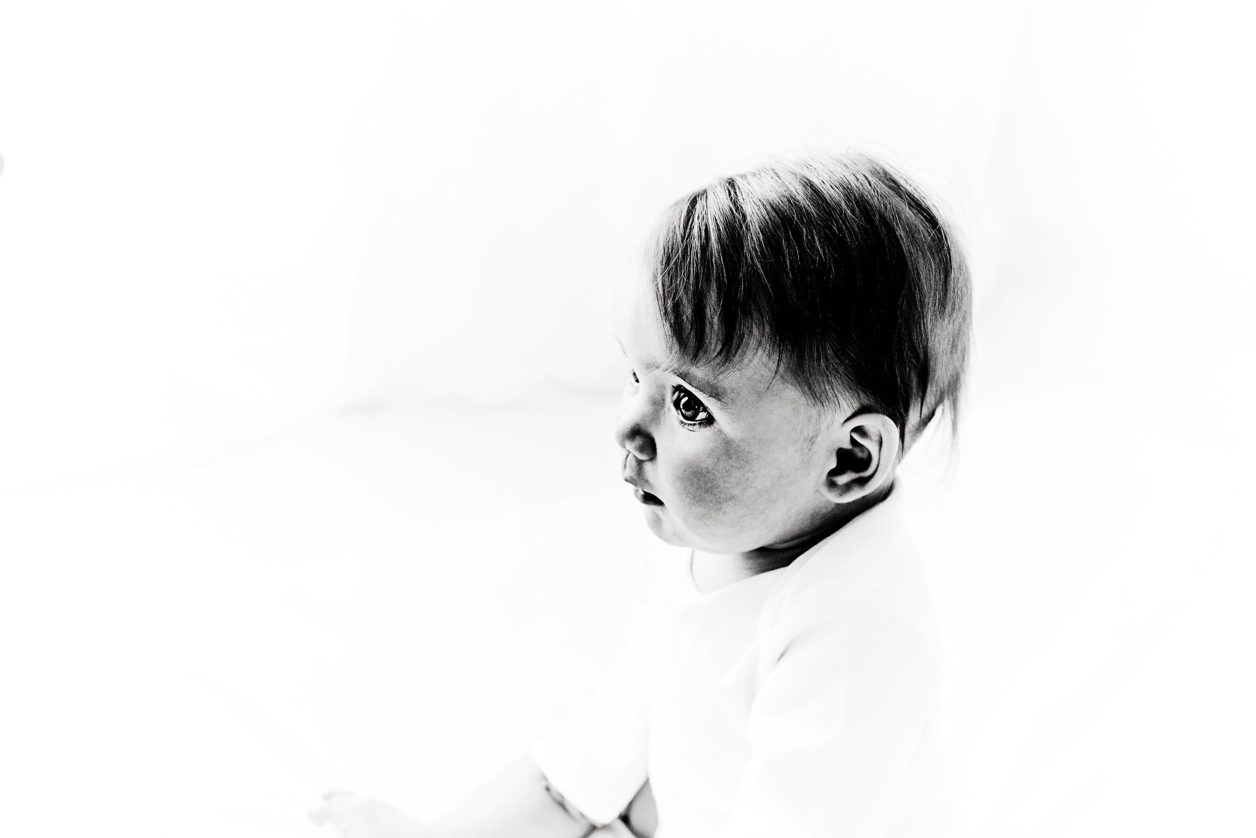 black and white image of baby